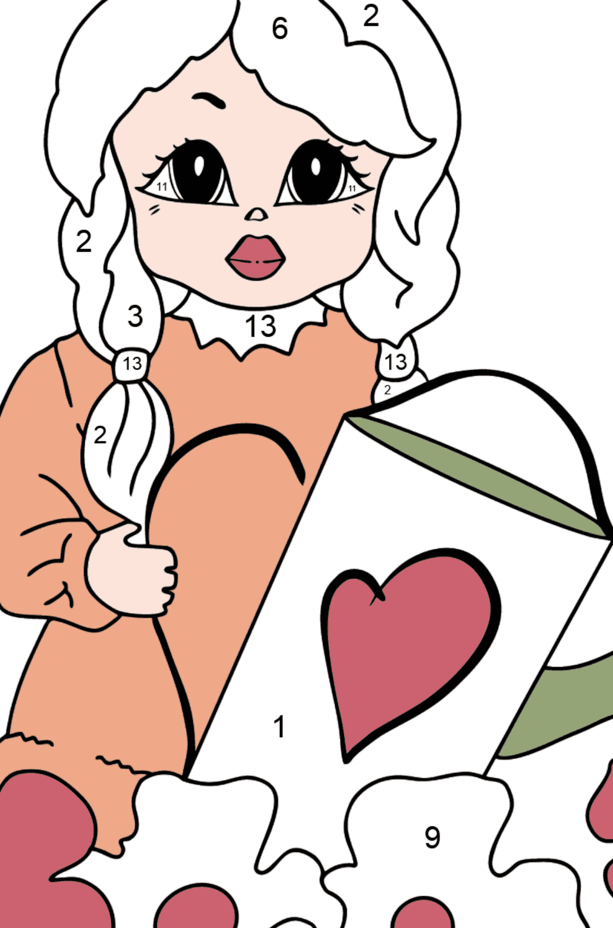Coloring Page - A Princess with a Watering Can - Coloring by Numbers for Kids