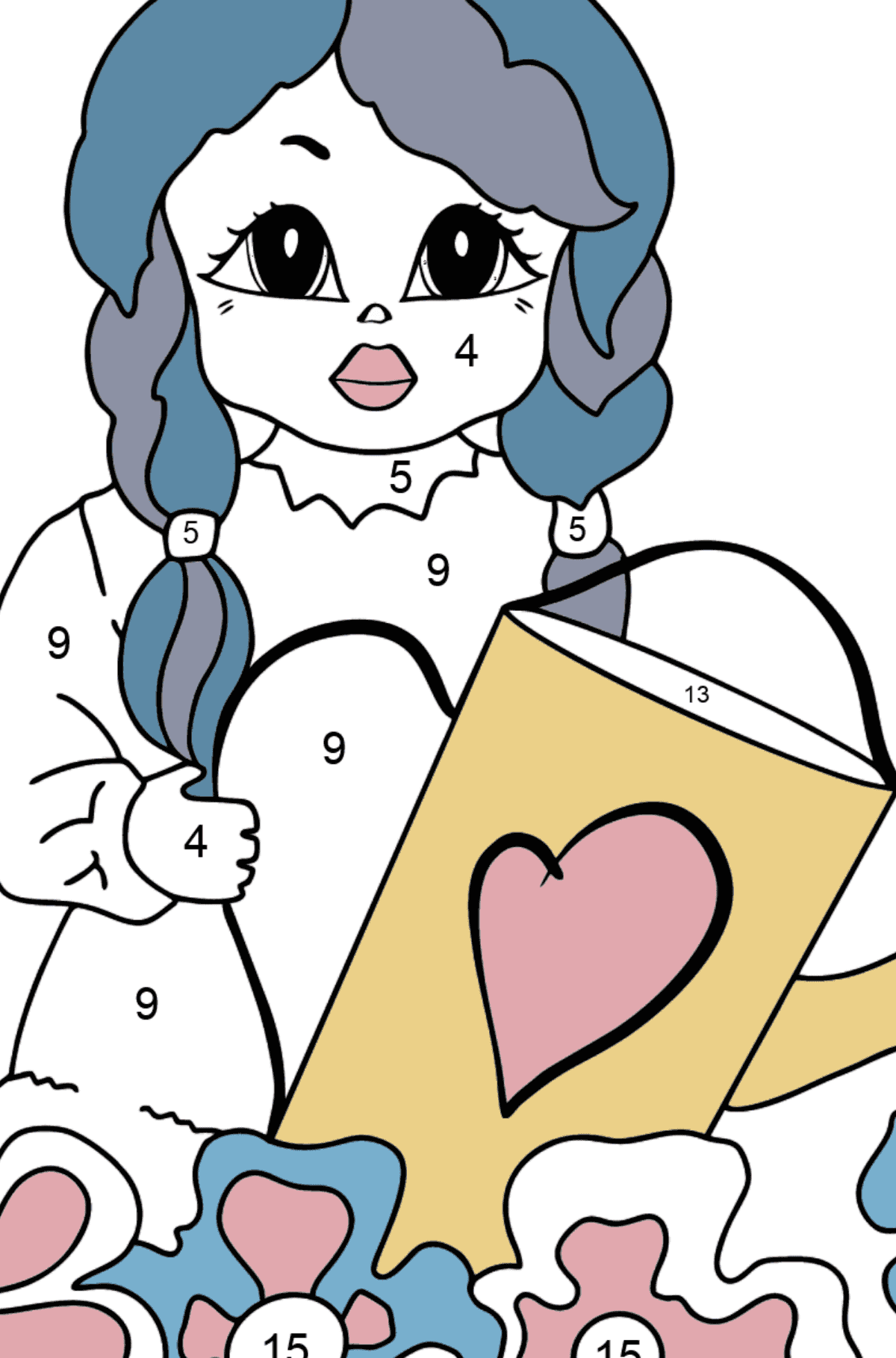 Coloring Page - A Princess with a Watering Can - For Girls - Coloring by Numbers for Kids