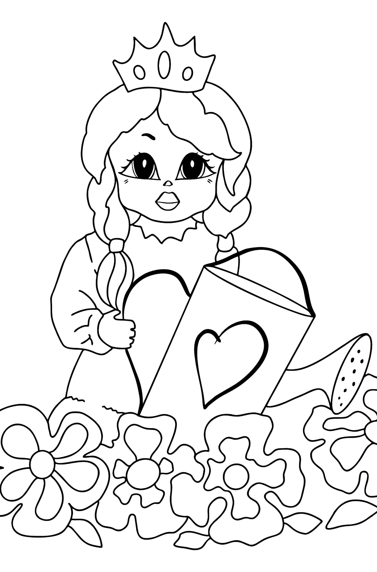 Coloring Page - A Princess with a Watering Can - For Girls - Coloring Pages for Kids