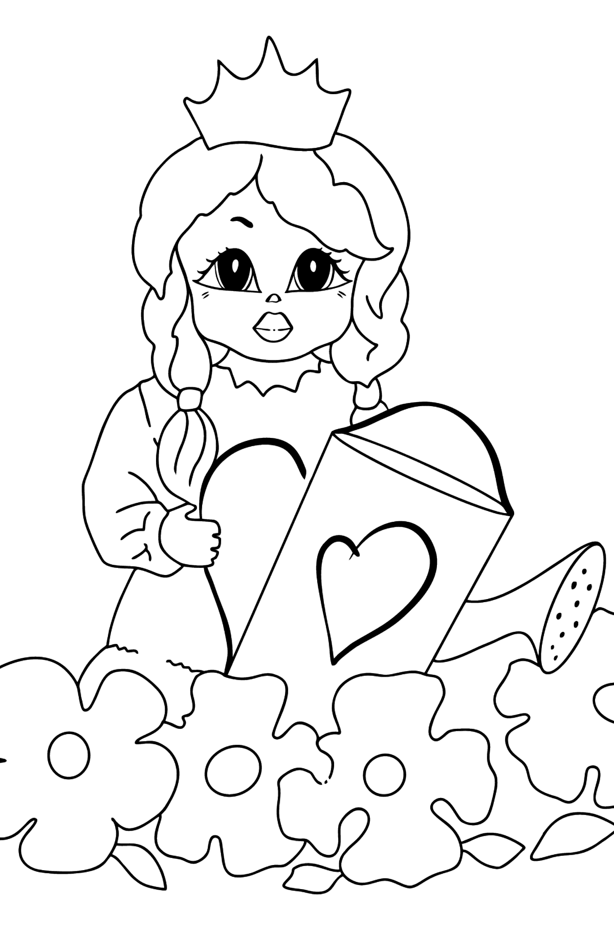 Coloring Page - A Princess with a Watering Can - Coloring Pages for Kids