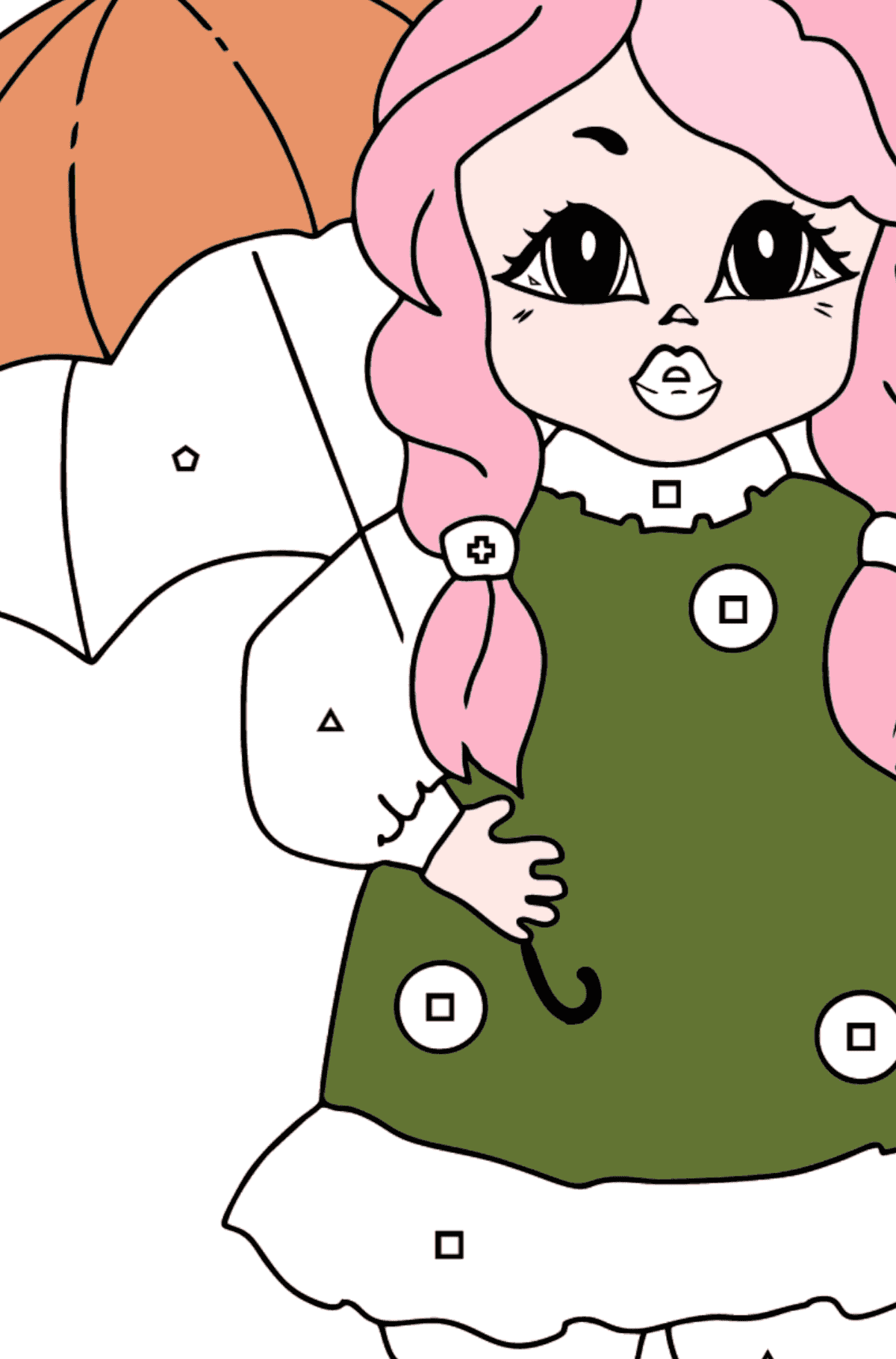 Coloring Page - A Princess with an Umbrella - Coloring by Geometric Shapes for Kids