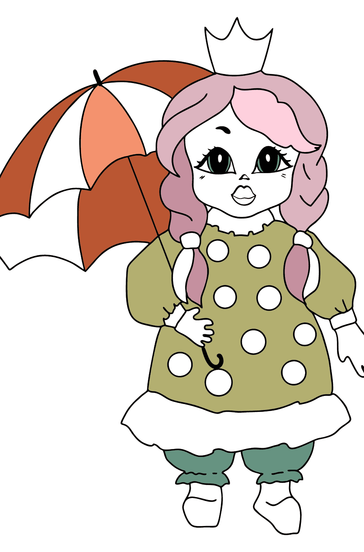 Coloring Page - A Princess with an Umbrella - For Girls - Coloring Pages for Kids