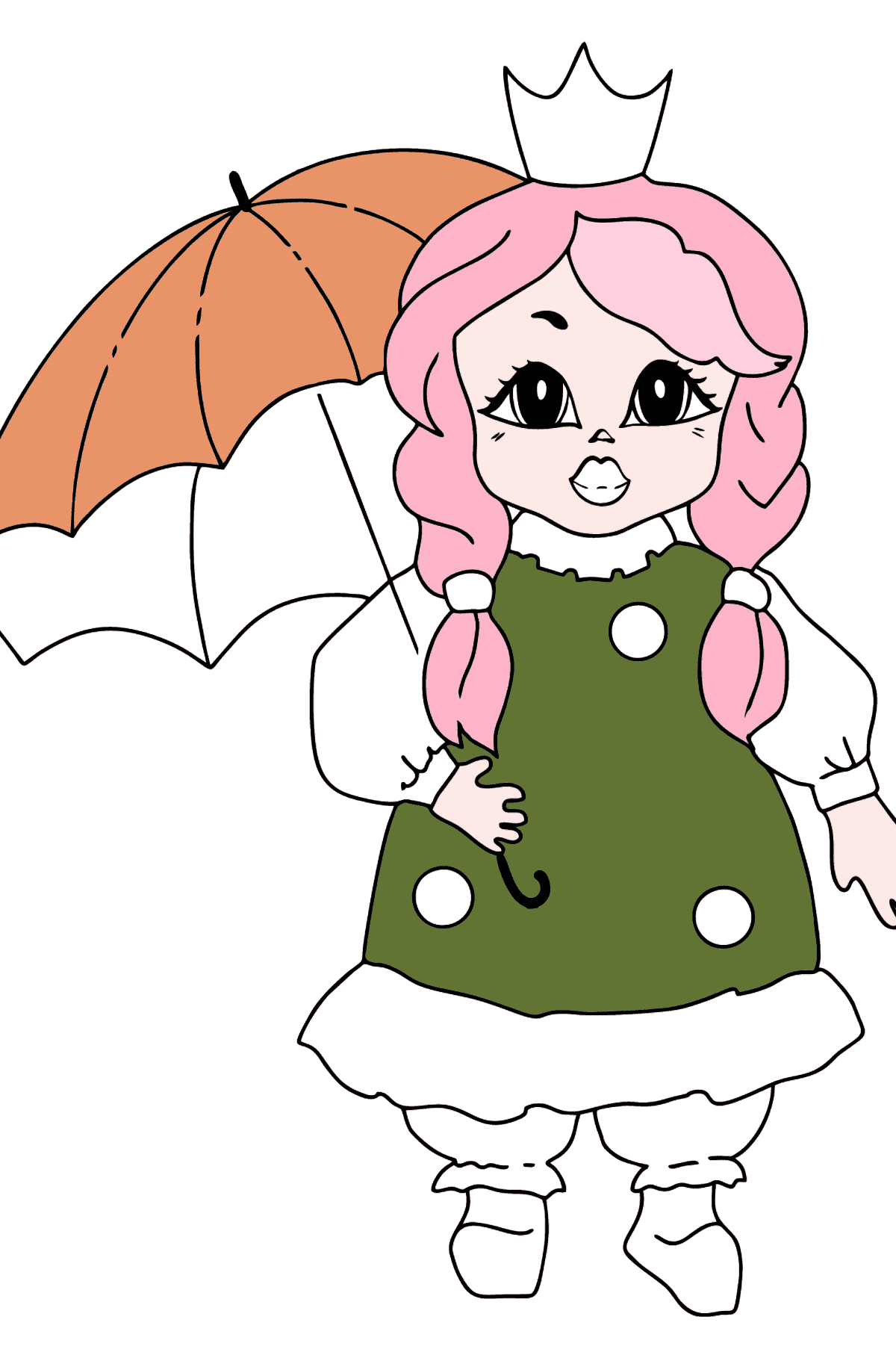 Coloring Page - A Princess with an Umbrella - Coloring Pages for Kids