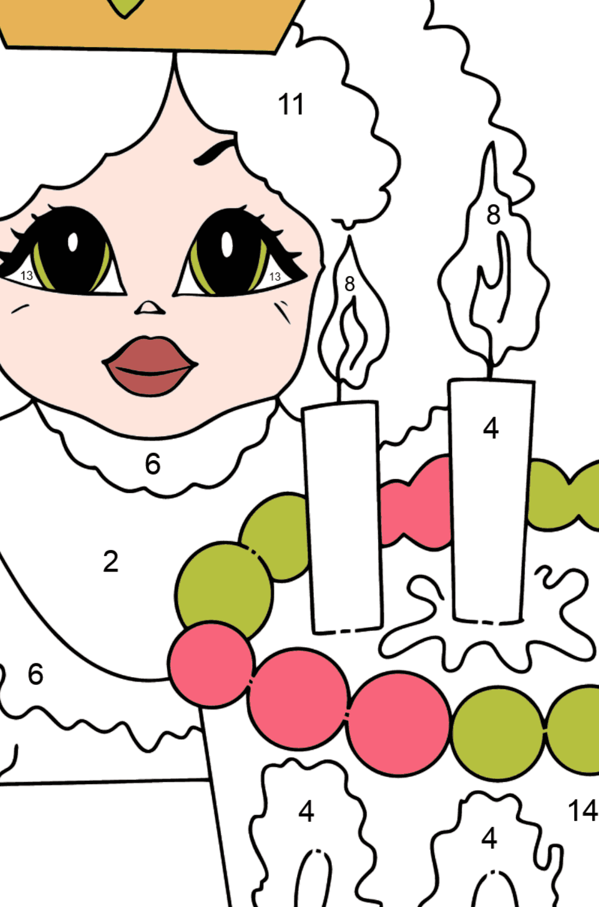 Coloring Picture - A Princess with Cake - Coloring by Numbers for Kids