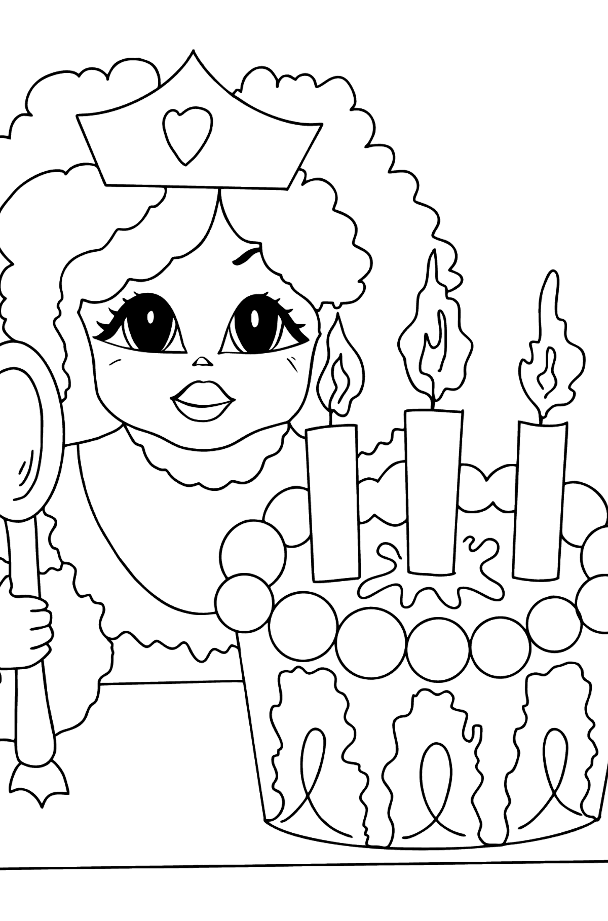 Coloring Page - A Princess with Cake - For Girls - Coloring Pages for Kids