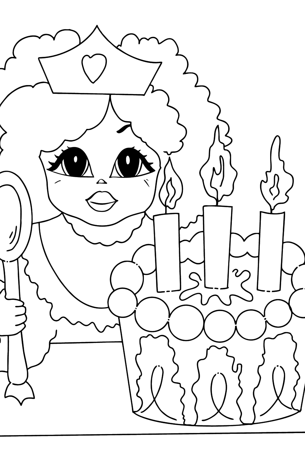 Coloring Picture - A Princess with Cake - Coloring Pages for Kids