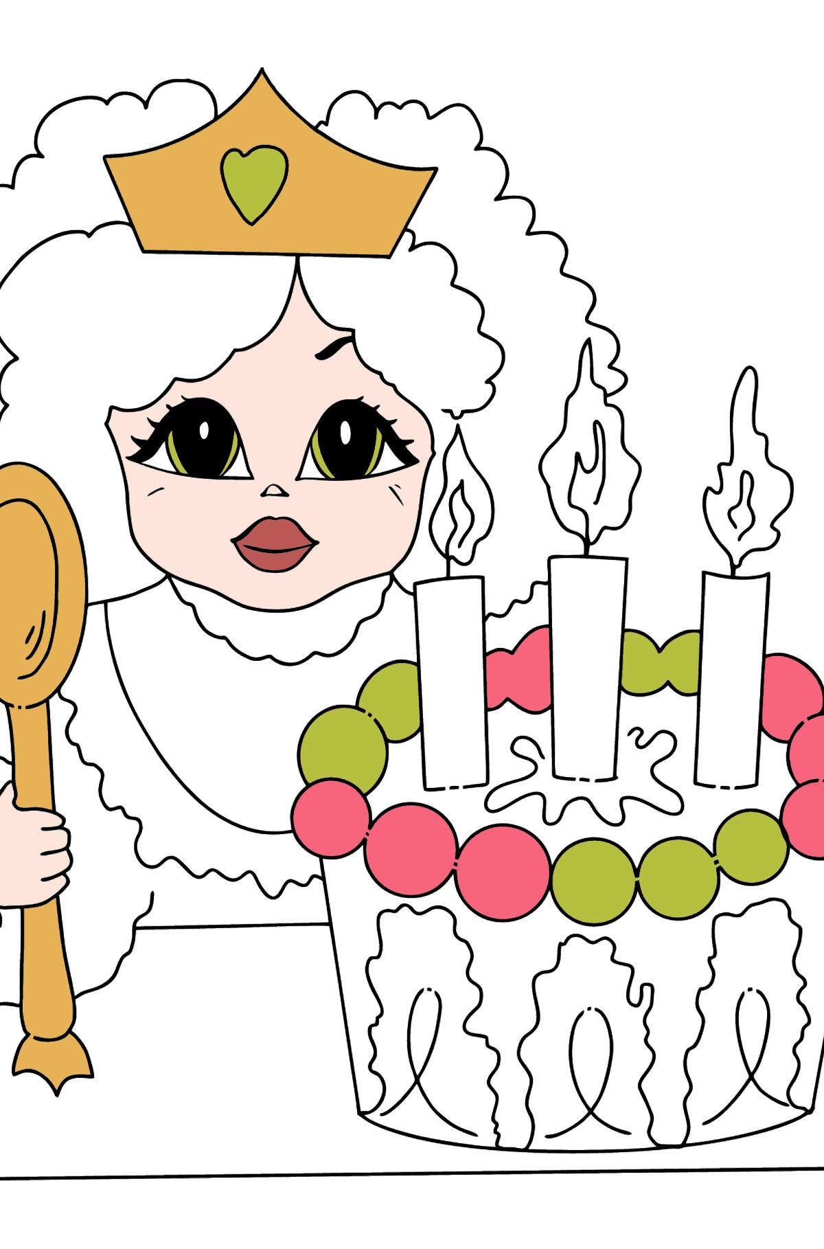 Разукрашка Принцесса с Тортом - Раскраски для Детей