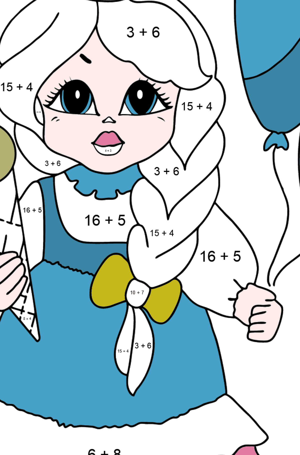 Coloring Page - A Princess with Ice Сream - For Girls - Math Coloring - Addition for Kids