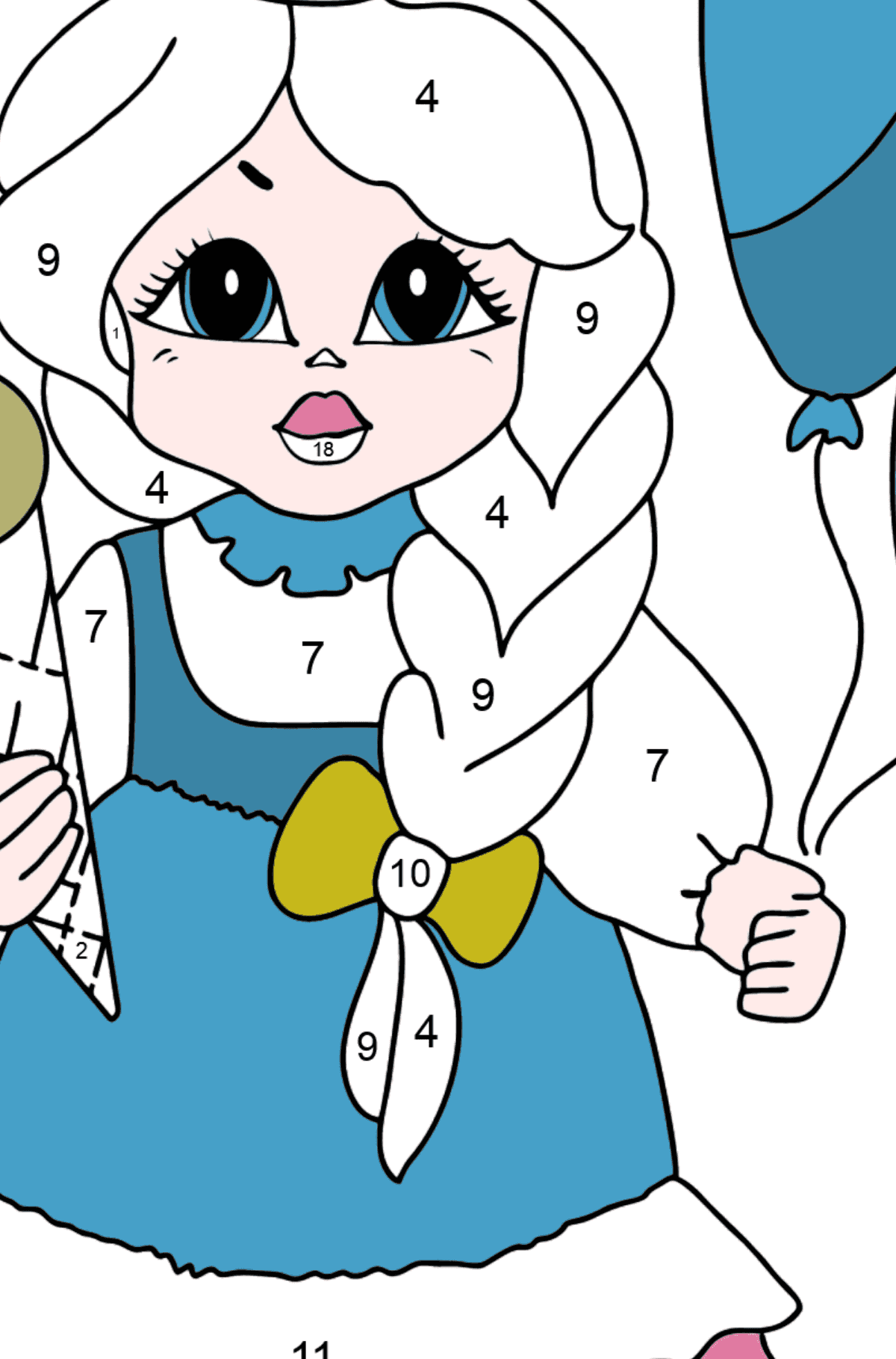 Coloring Page - A Princess with Ice Сream - For Girls - Coloring by Numbers for Kids