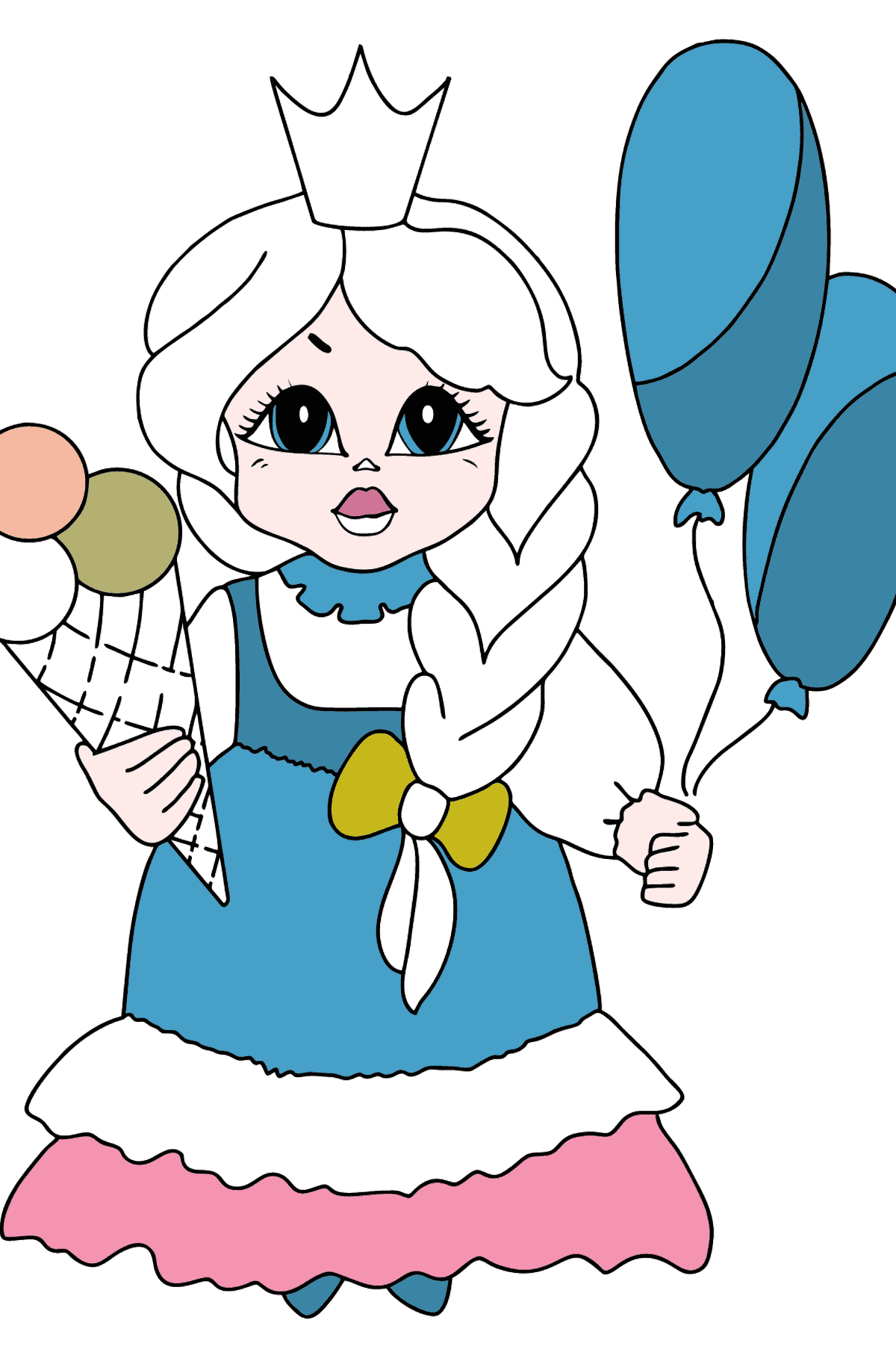 Coloring Page - A Princess with Ice Сream - For Girls - Coloring Pages for Kids
