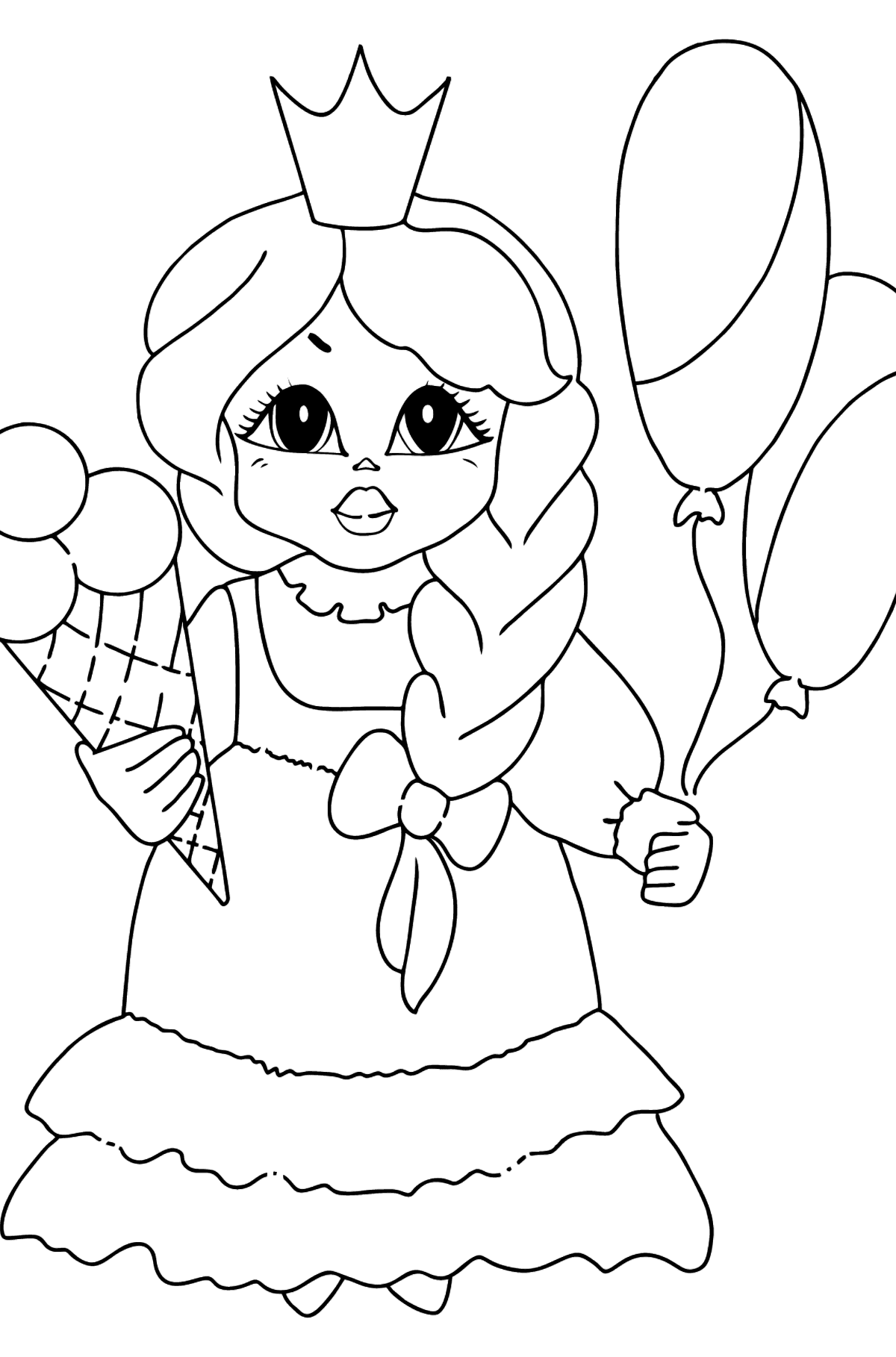Coloring Page - A Princess with Ice Сream - Coloring Pages for Kids