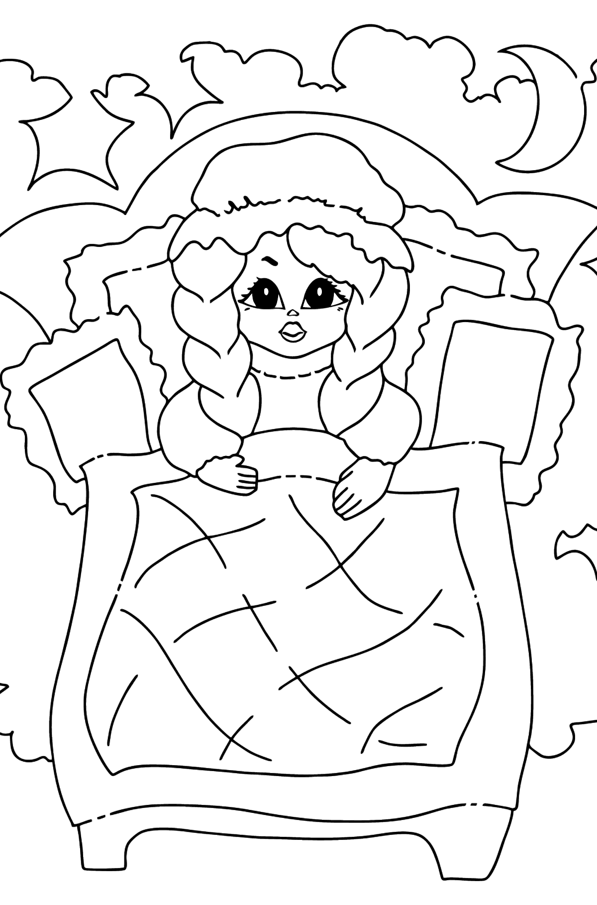 Coloring Picture - A Princess in Bed - Coloring Pages for Kids
