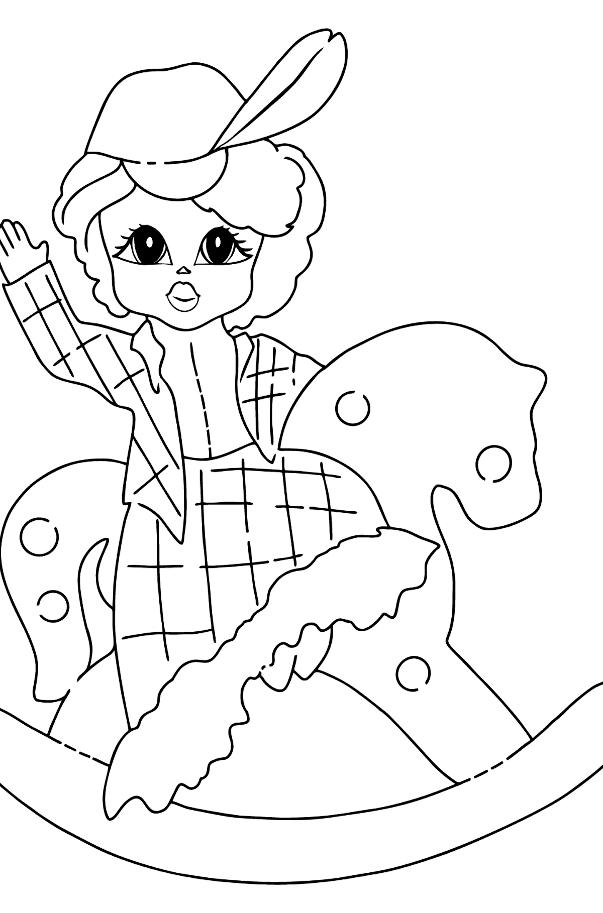 Coloring Picture - A Princess on a Horse - Coloring Pages for Kids