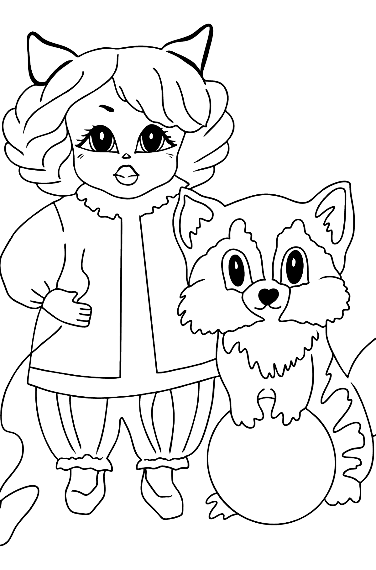 Coloring Picture - A Princess with a Cat and a Racoon - Coloring Pages for Kids