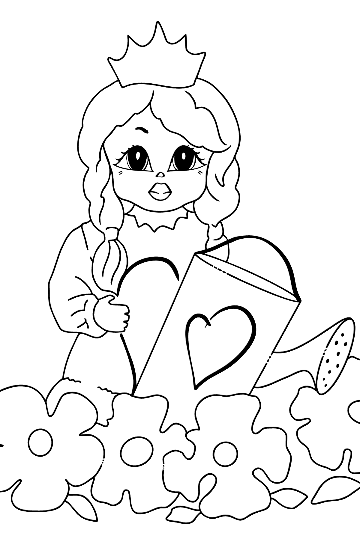 Coloring Picture - A Princess with a Watering Can - Coloring Pages for Kids