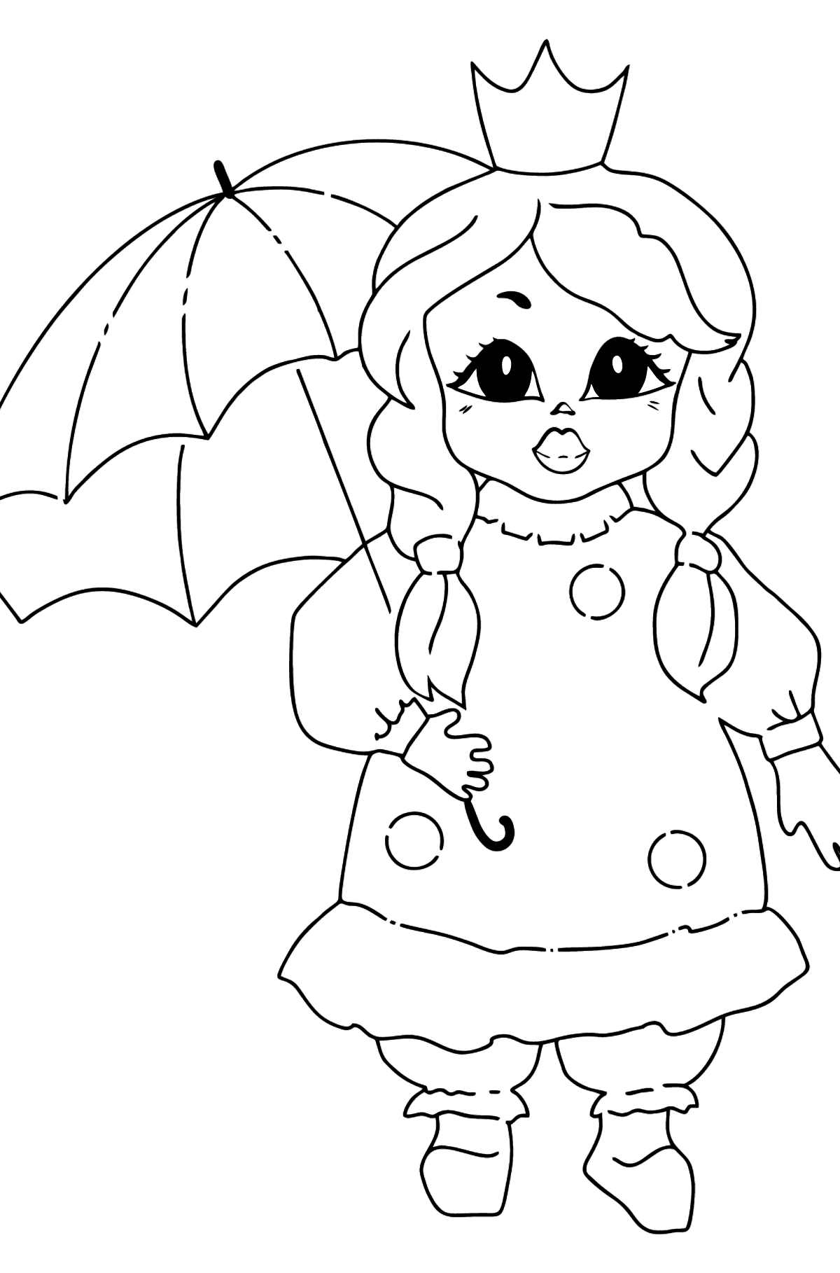 Coloring Picture - A Princess with an Umbrella - Coloring Pages for Kids