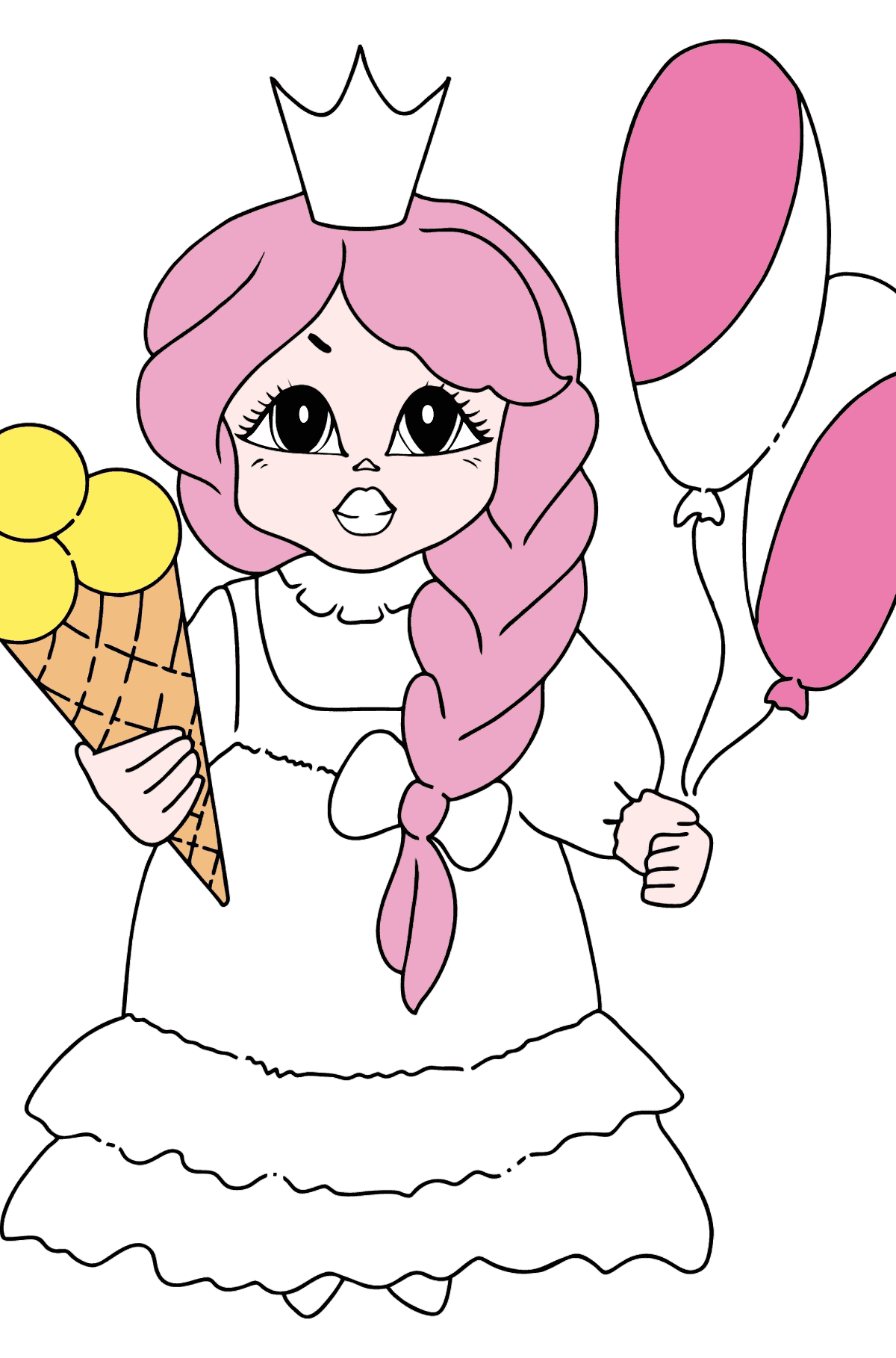 Coloring Picture - A Princess with Ice Сream - Coloring Pages for Kids