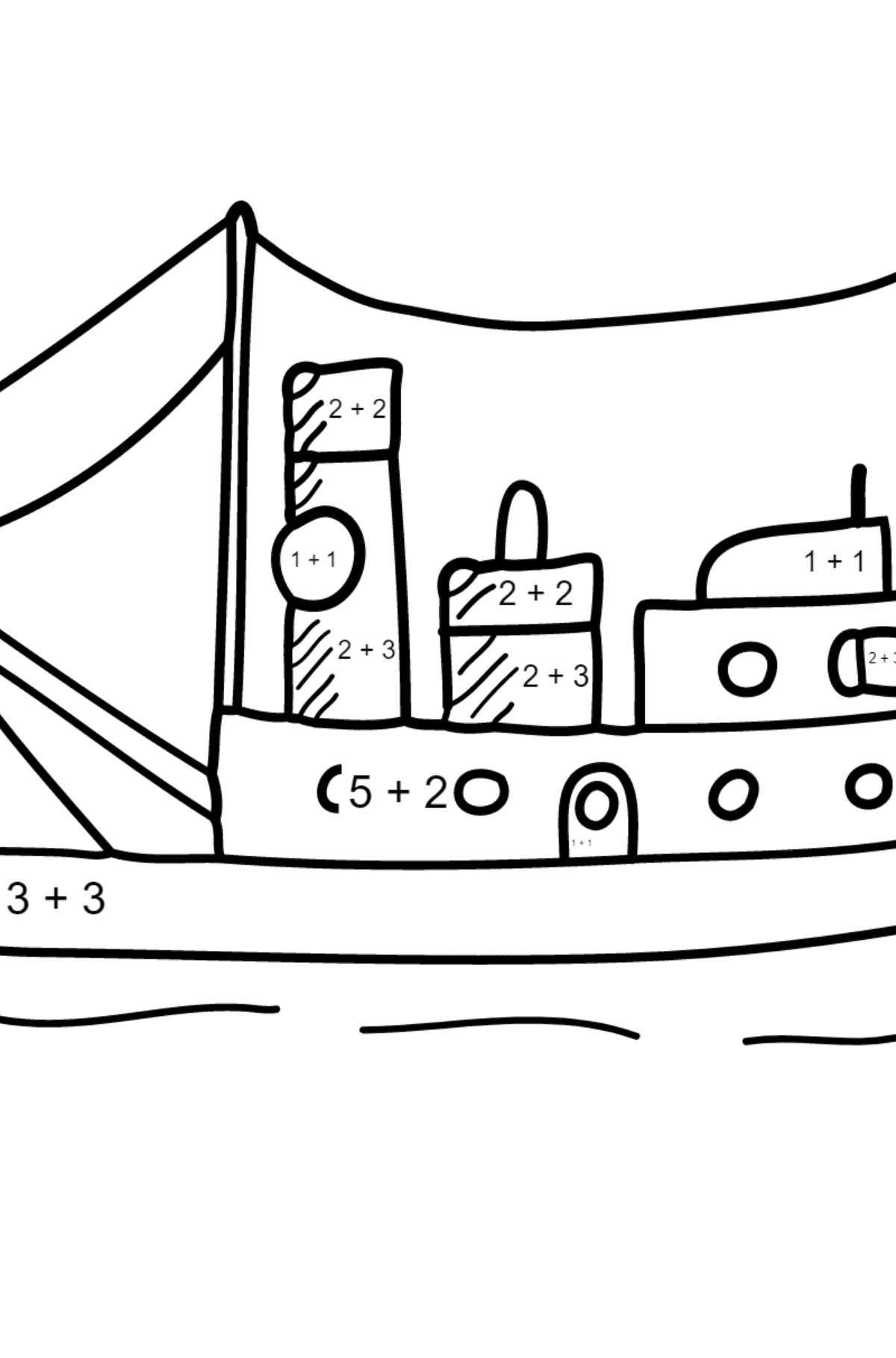 Coloring Page - A Cargo Ship - Math Coloring - Addition for Children