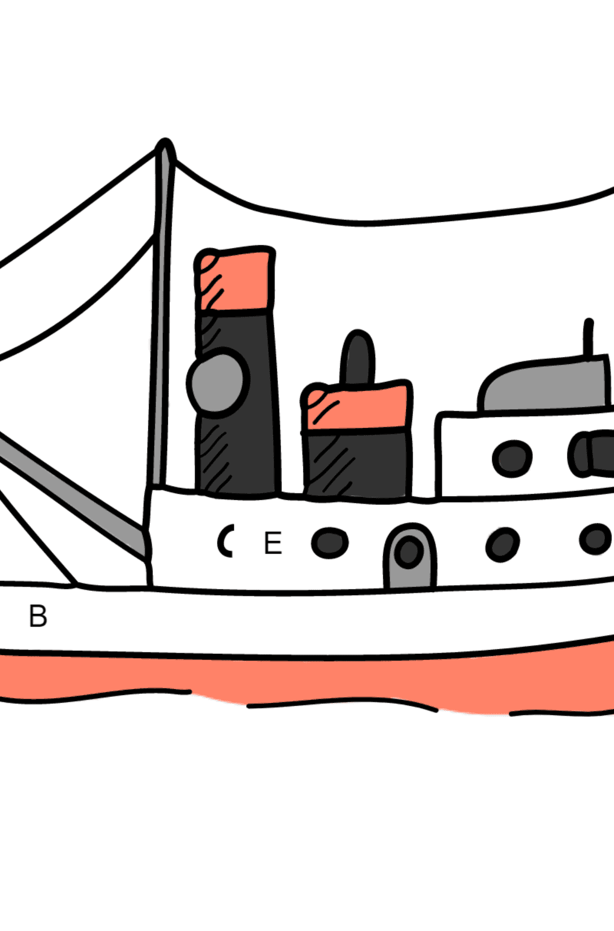 Coloring Page - A Cargo Ship - Coloring by Letters for Kids