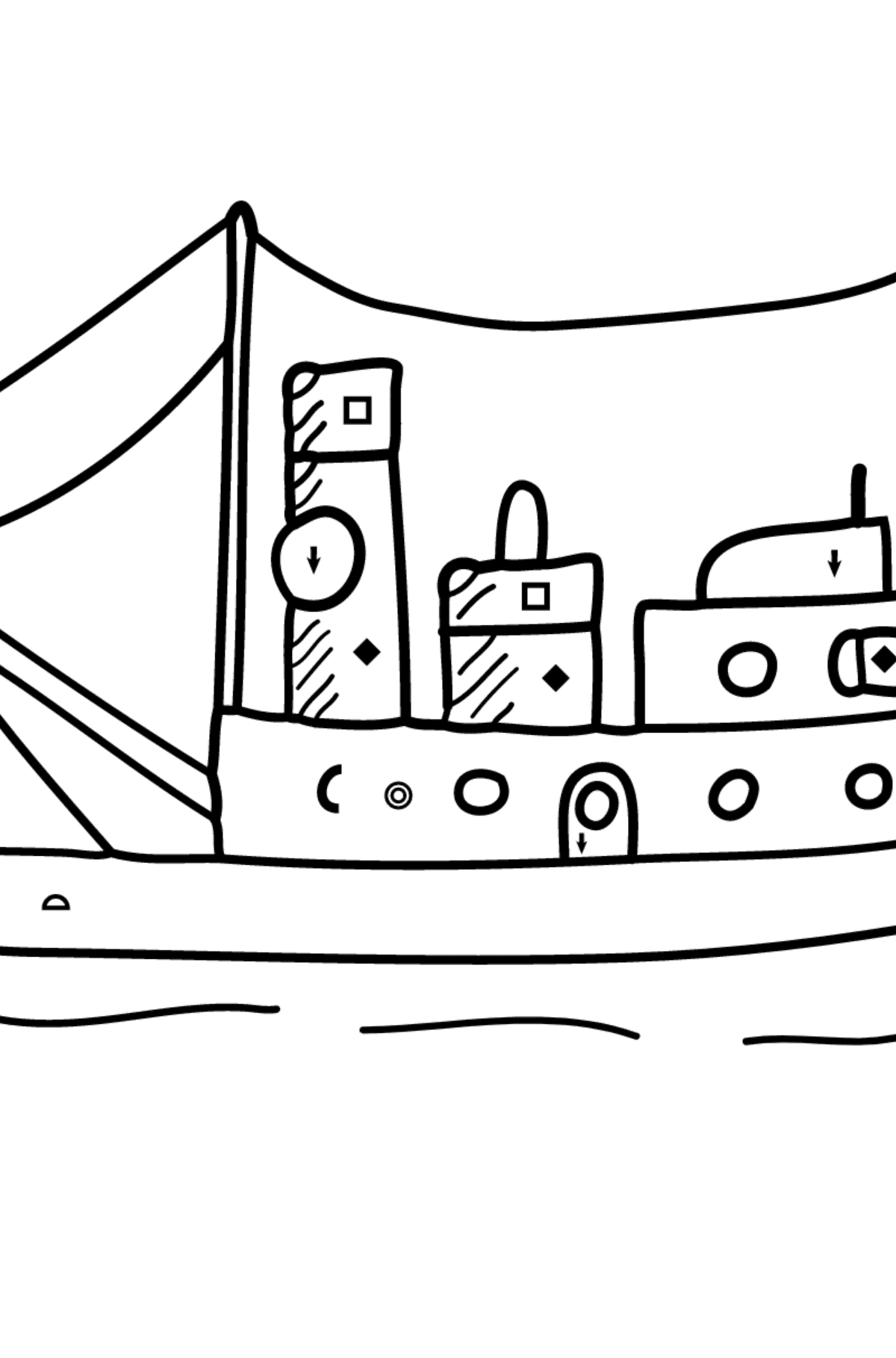 Coloring Page - A Cargo Ship - Coloring by Symbols and Geometric Shapes for Kids