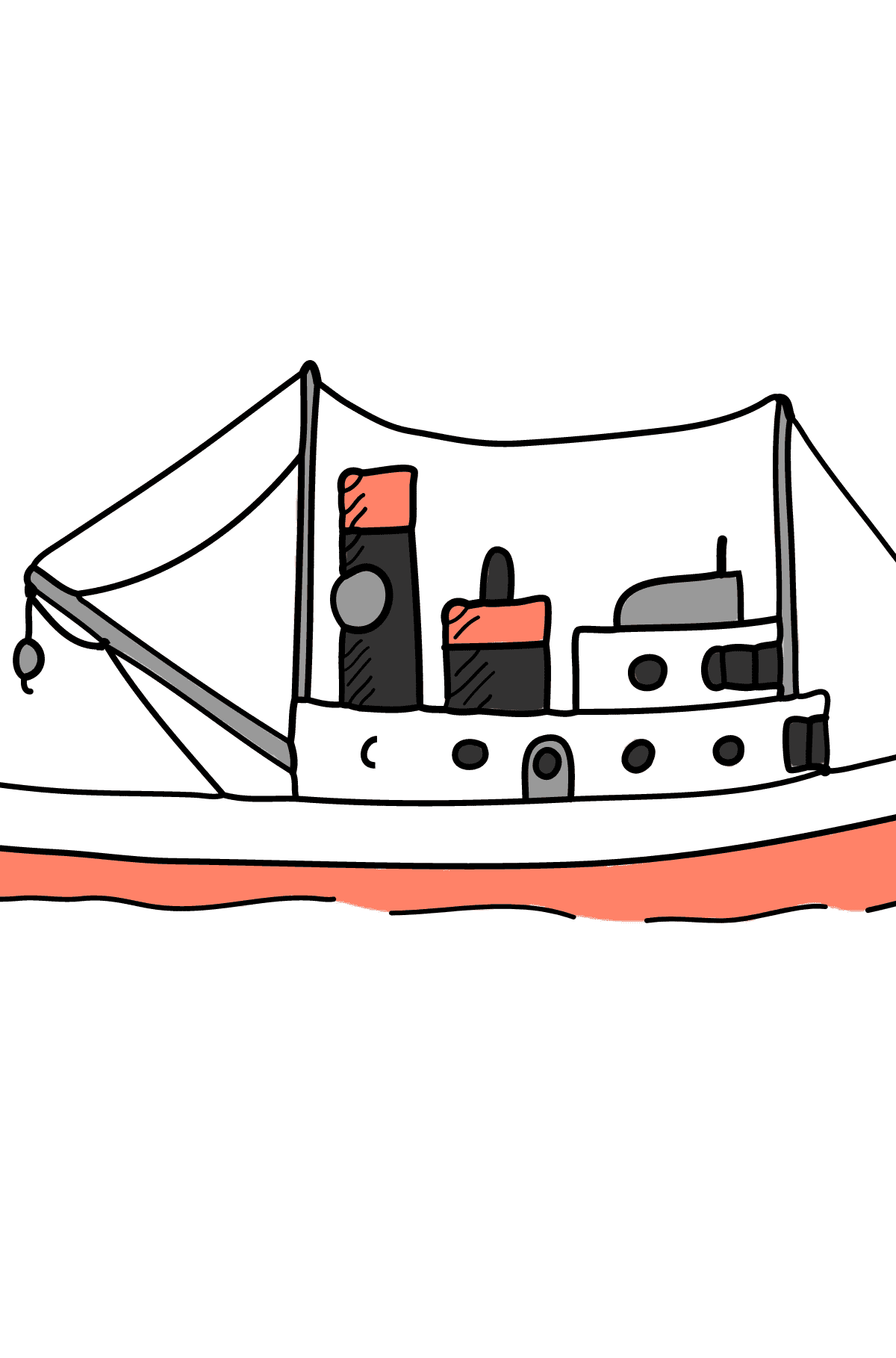 Coloring Page - A Cargo Ship - Coloring Pages for Children