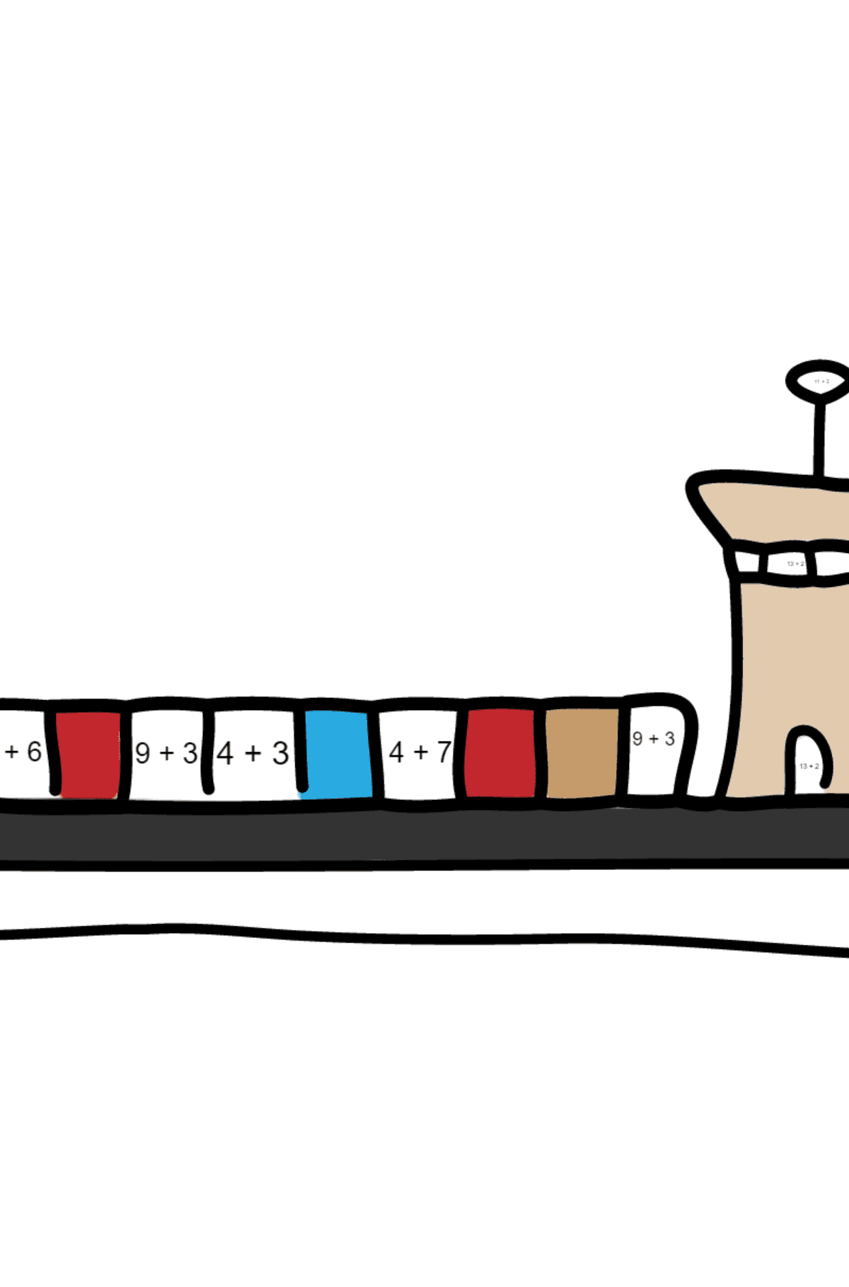 Coloring Page - A Dry Cargo Barge - Math Coloring - Addition for Kids