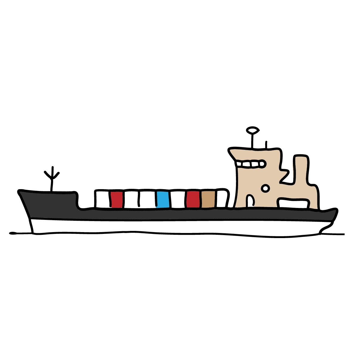 Desenho para colorir - uma barcaça de carga seca