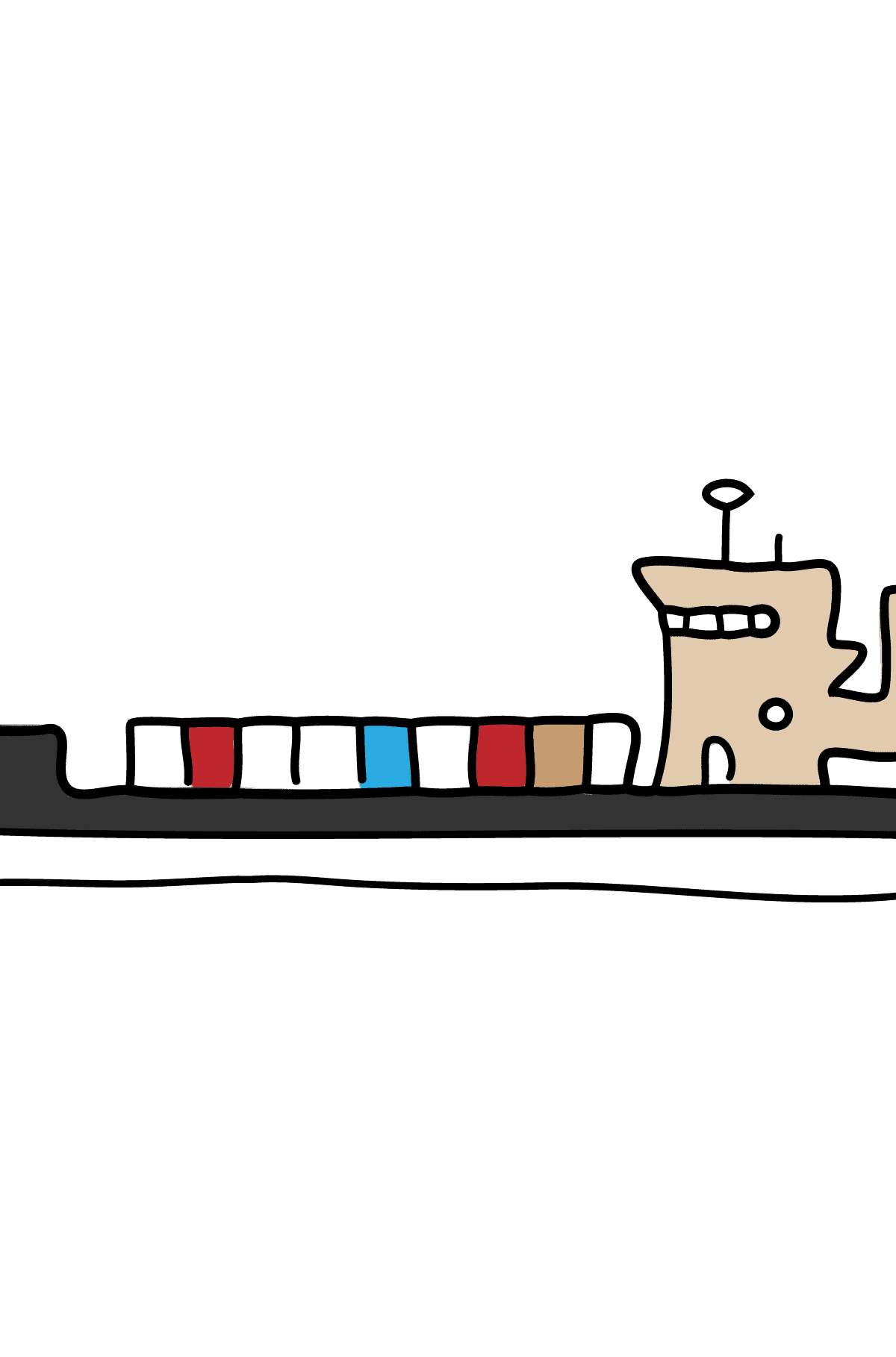 Coloring Page - A Dry Cargo Barge - Coloring Pages for Children