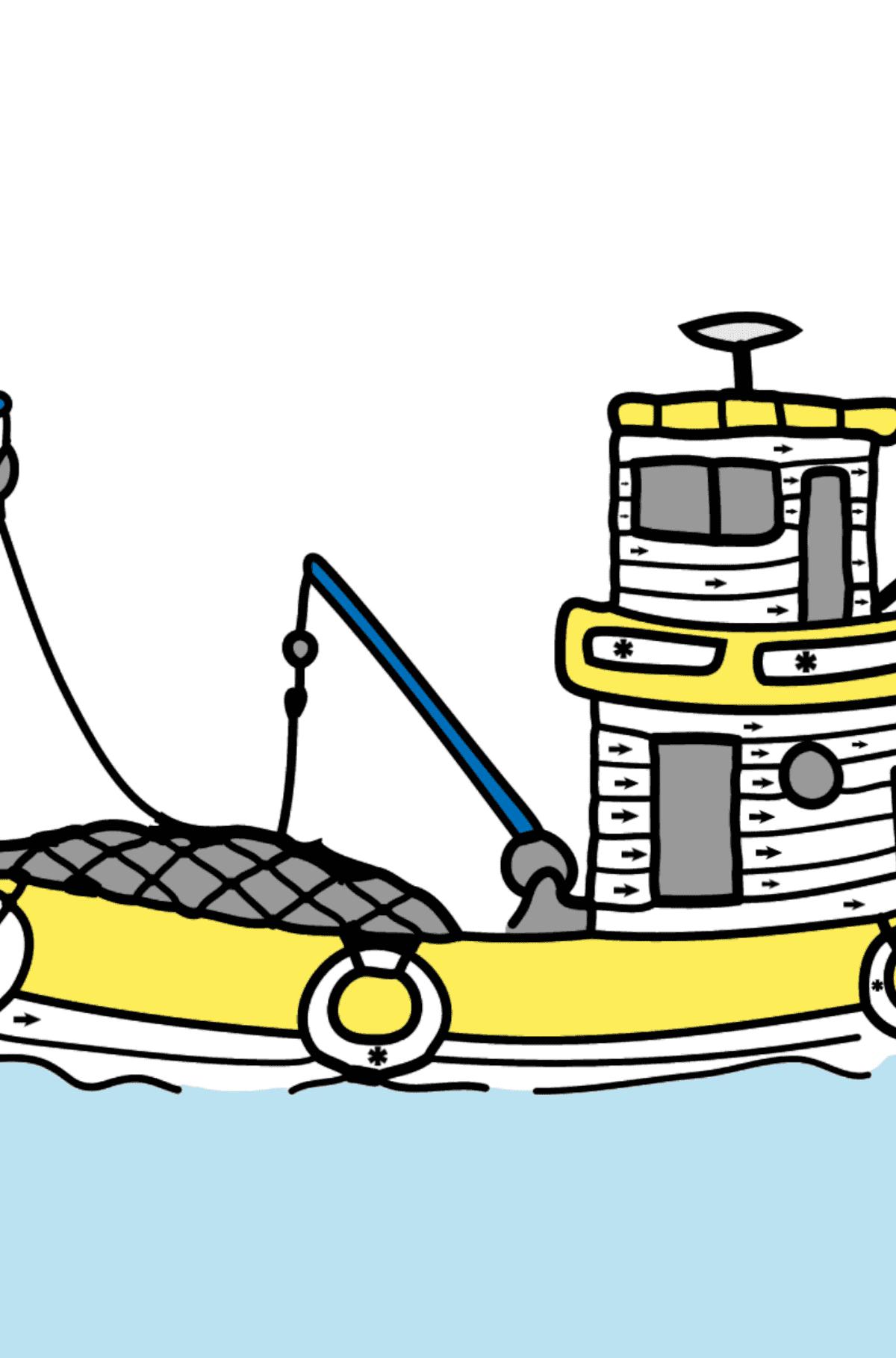 Раскраска рыбацкий корабль - Раскраска по Символам для Детей