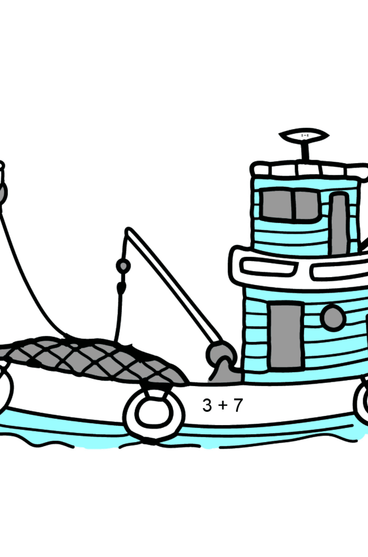 Coloring Page - A Fishing Boat - Math Coloring - Addition for Kids