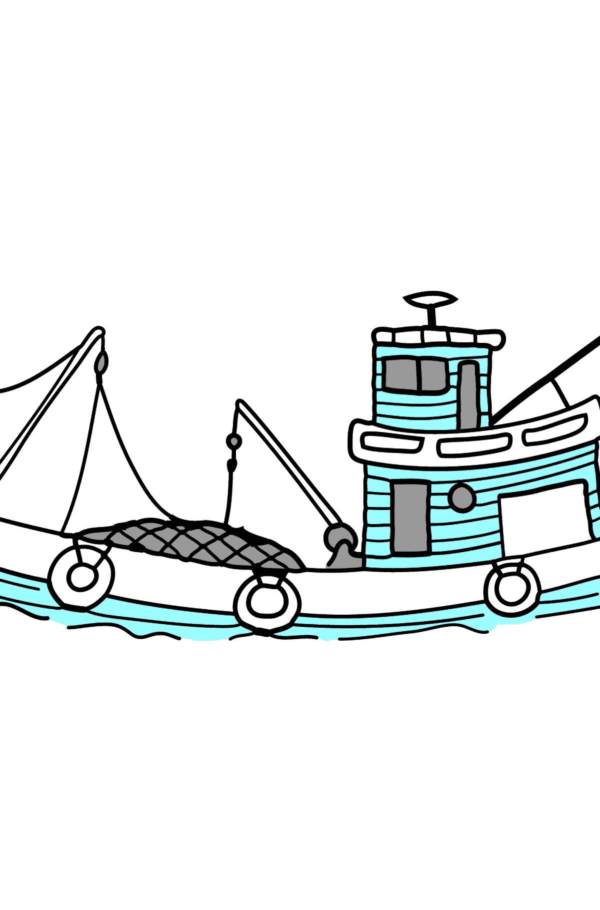 Coloring Page - A Fishing Boat - Coloring Pages for Kids