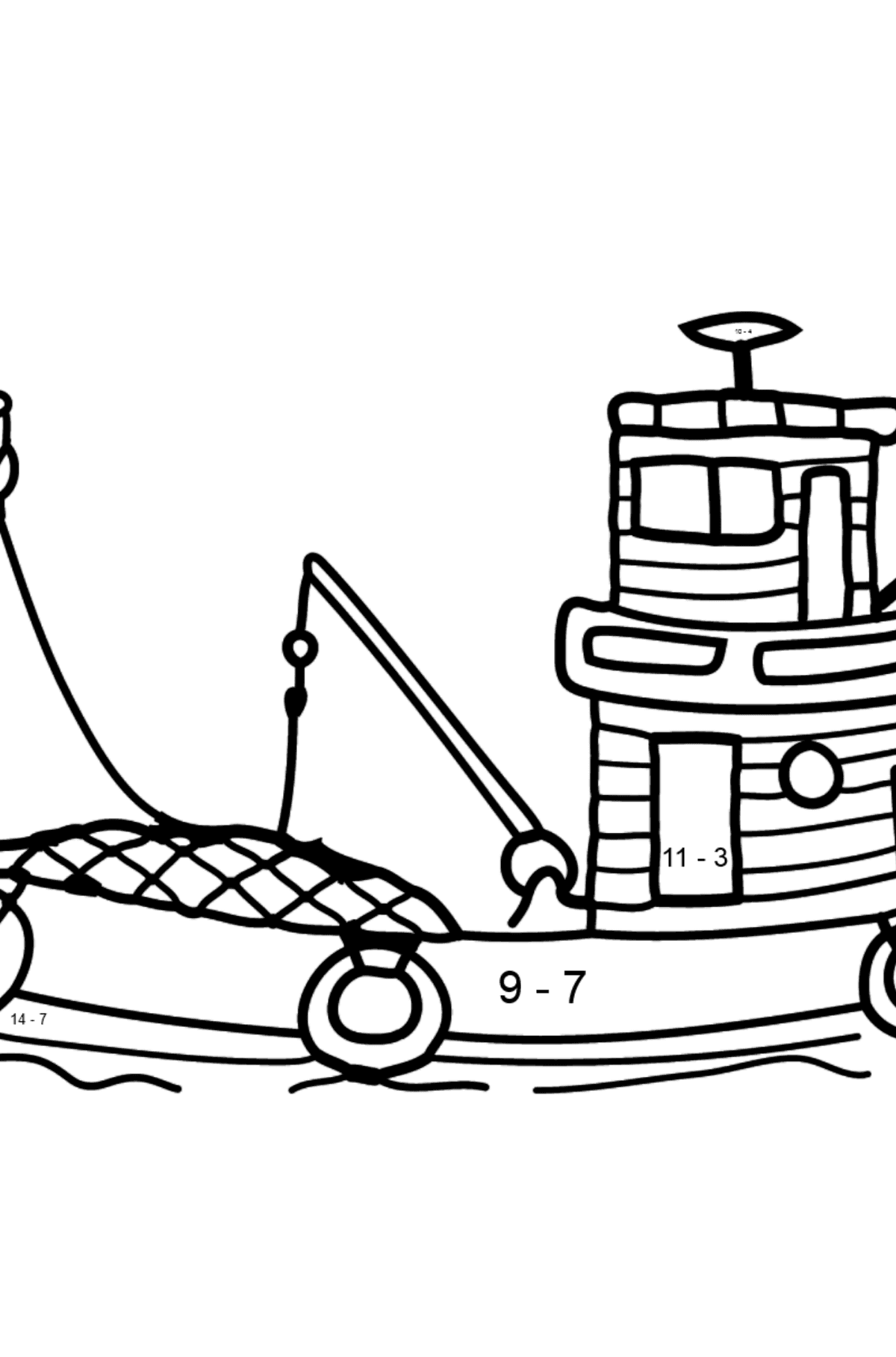 Coloring Page - A Fishing Boat - Math Coloring - Subtraction for Kids