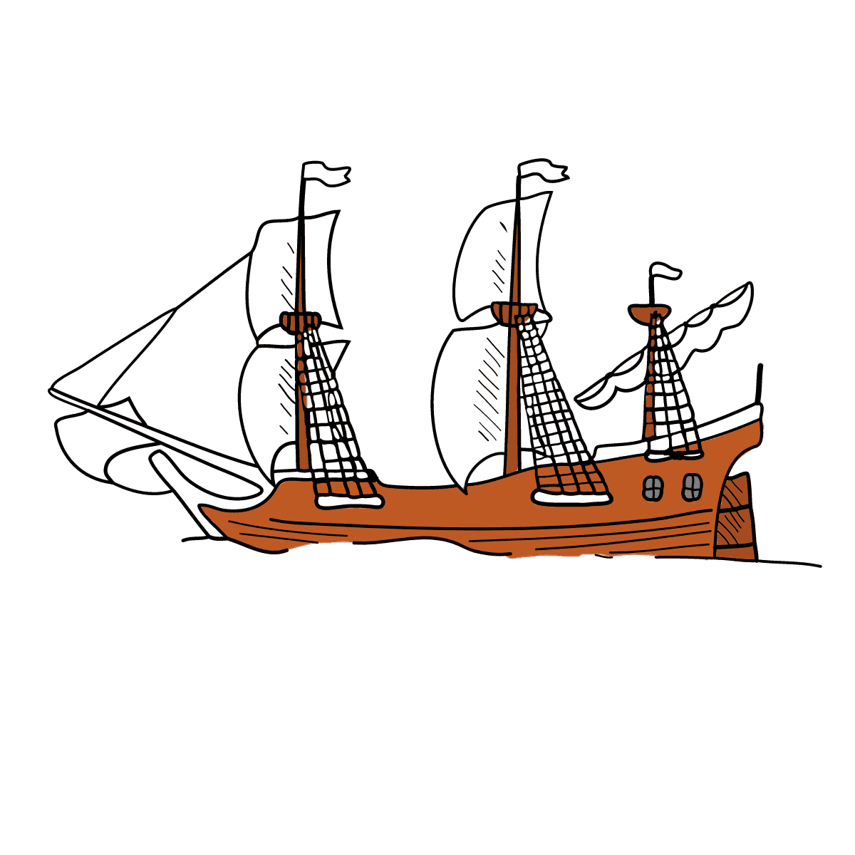 Coloring Page - A Galleon with Sails