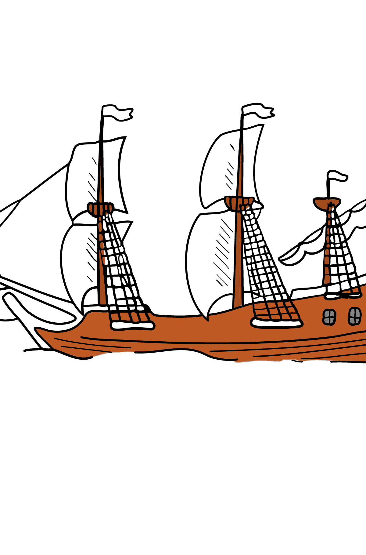 Coloring Page - A Galleon with Sails - Coloring Pages for Children