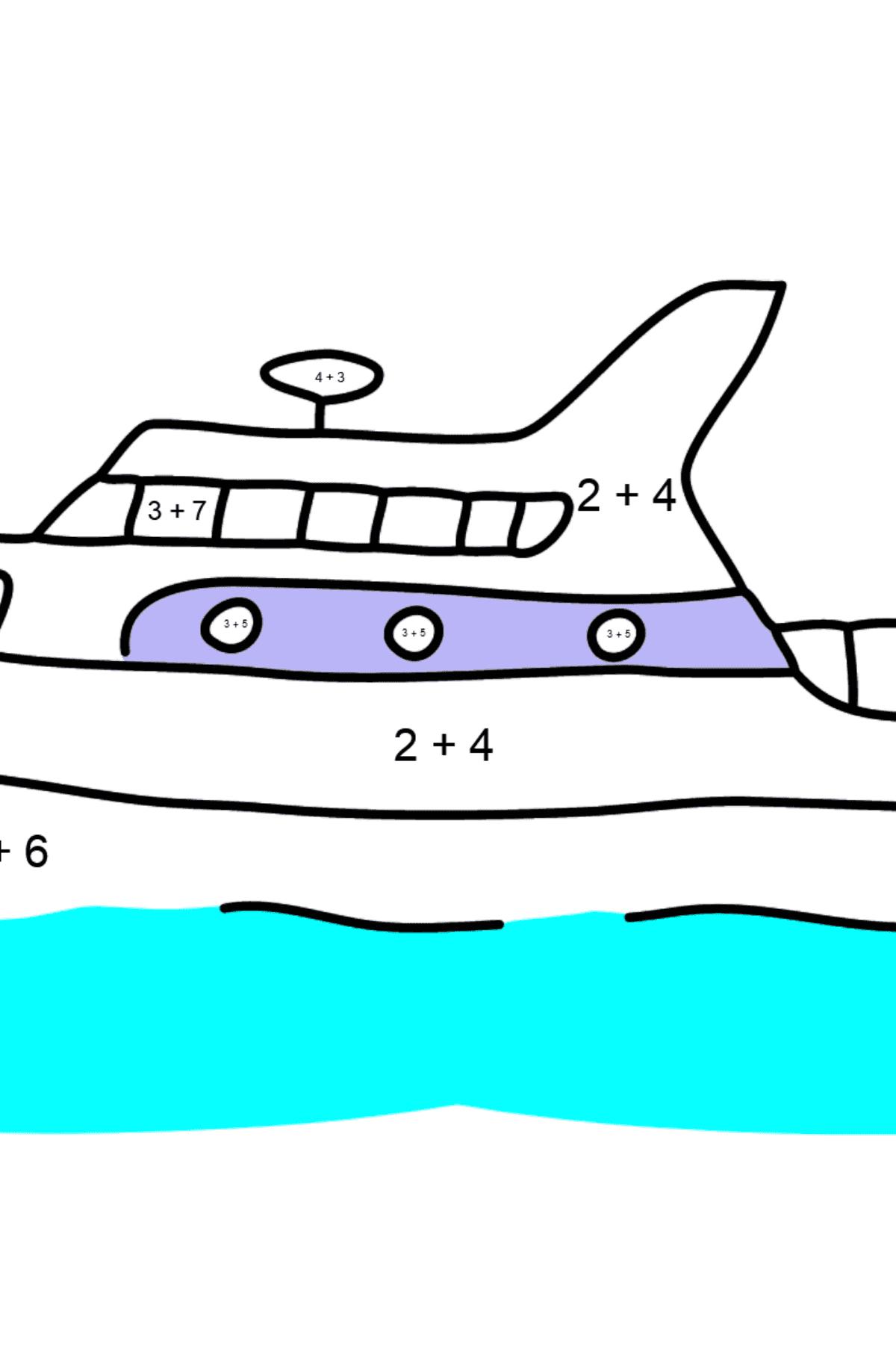 Раскраска прогулочная яхта - Математическая Раскраска - Сложение для Детей