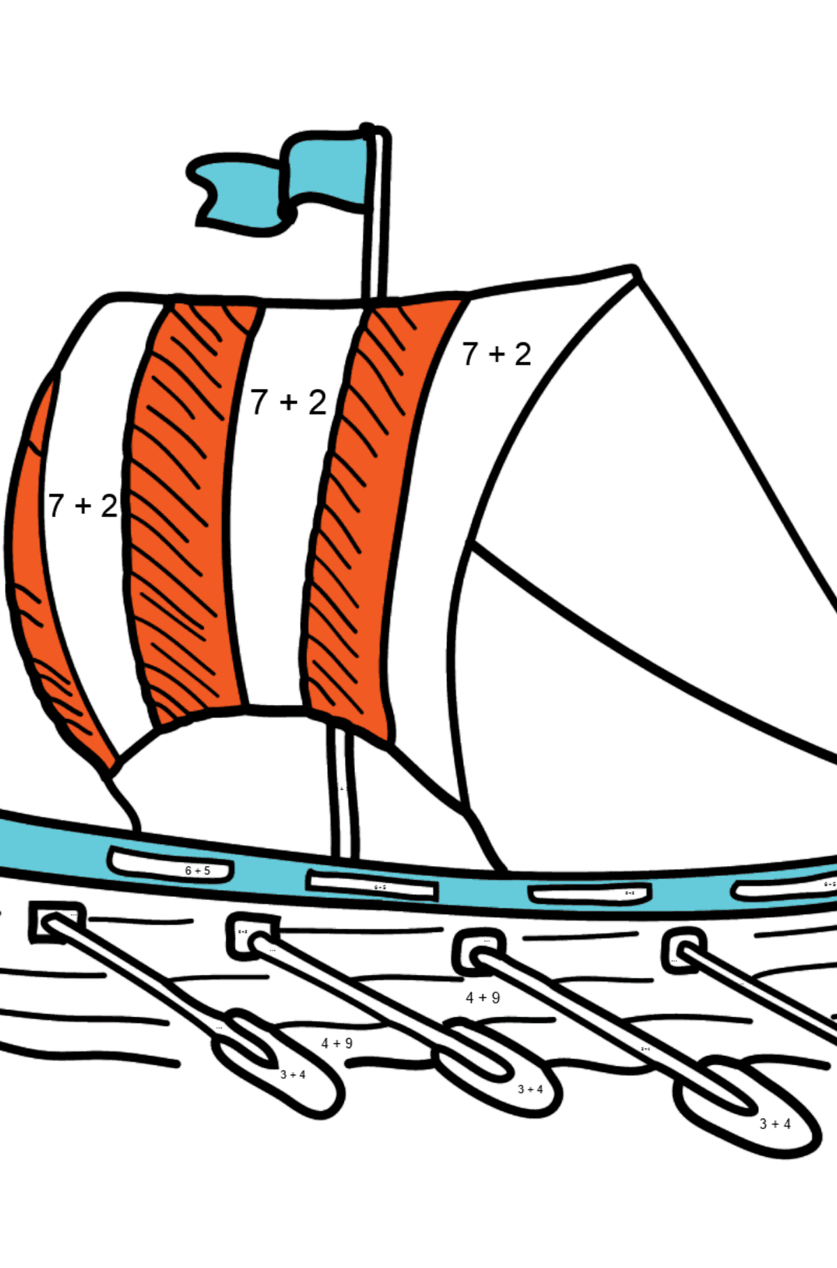 Coloring Page - A River Rowing Boat - Math Coloring - Addition for Kids