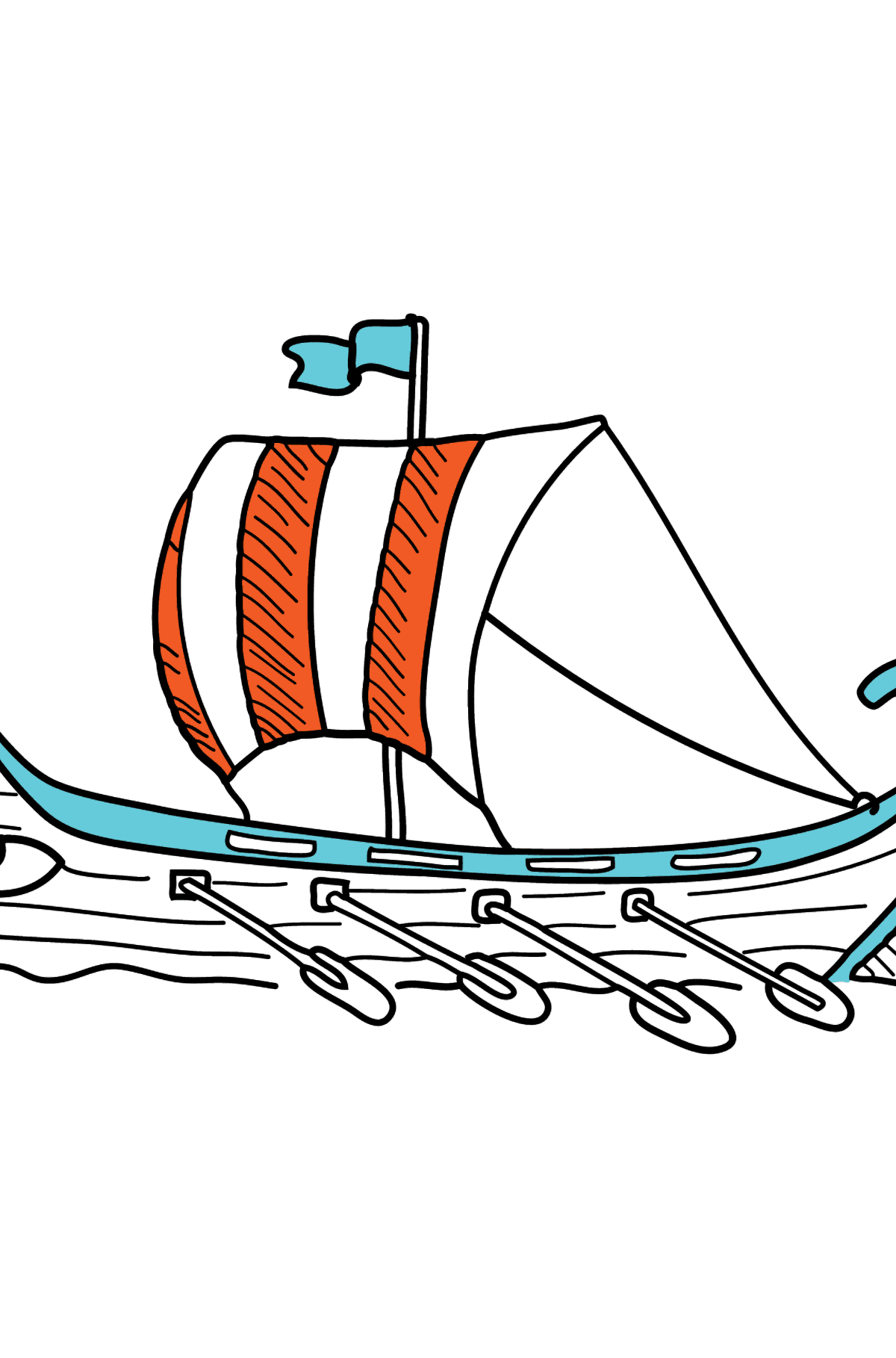 Coloring Page - A River Rowing Boat - Coloring Pages for Kids