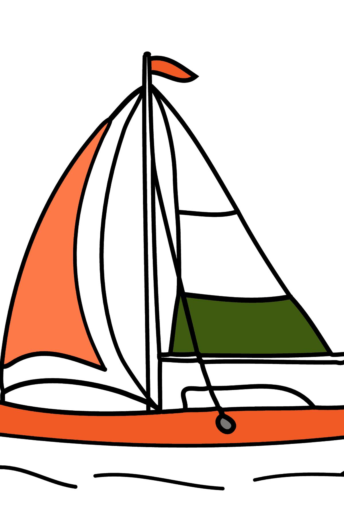 Раскраска парусная лодка - Раскраски для Детей
