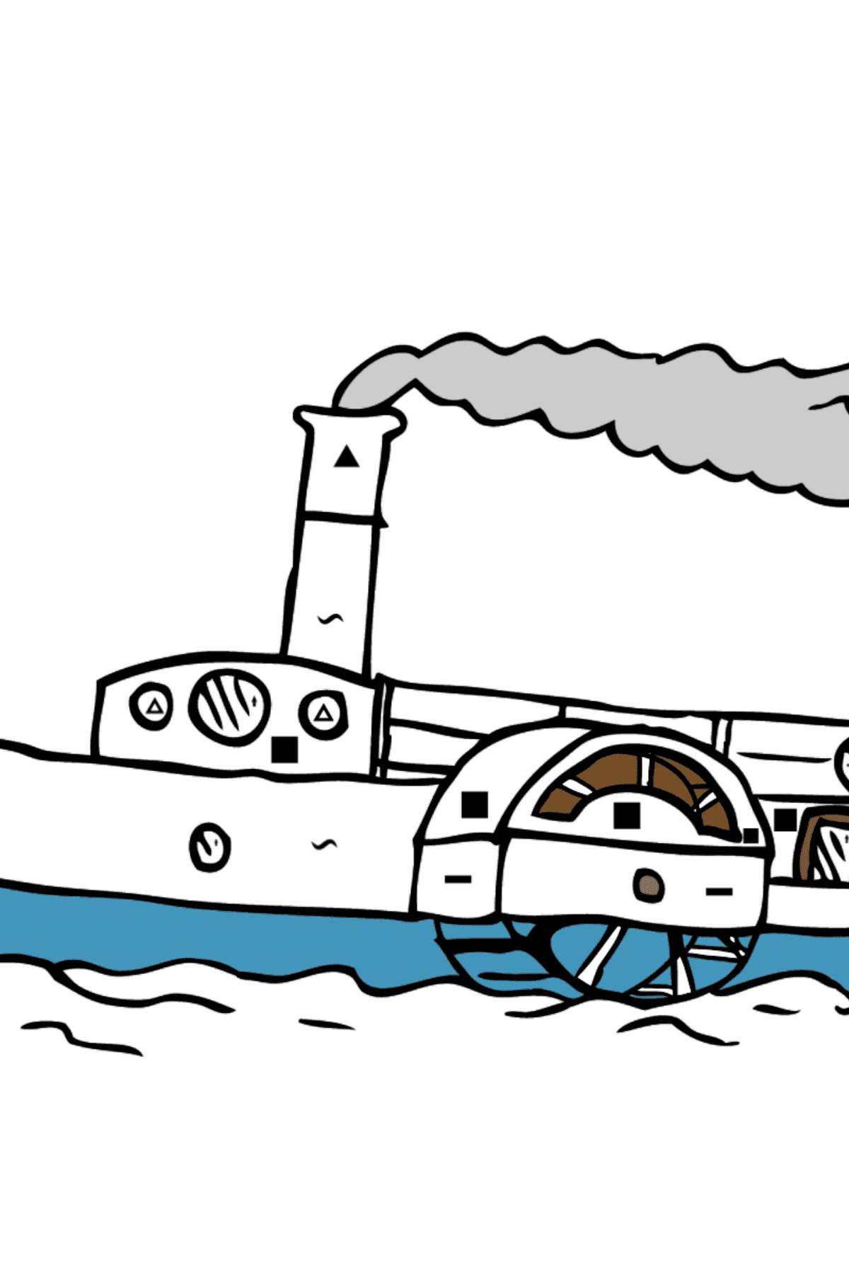 Coloring Page - A Ship with a Paddle Wheel - Coloring by Symbols for Kids