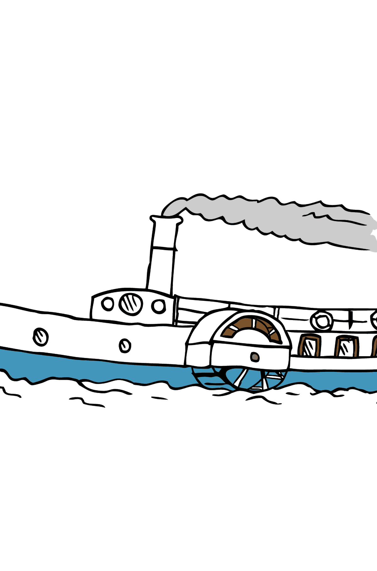 Coloring Page - A Ship with a Paddle Wheel - Coloring Pages for Kids
