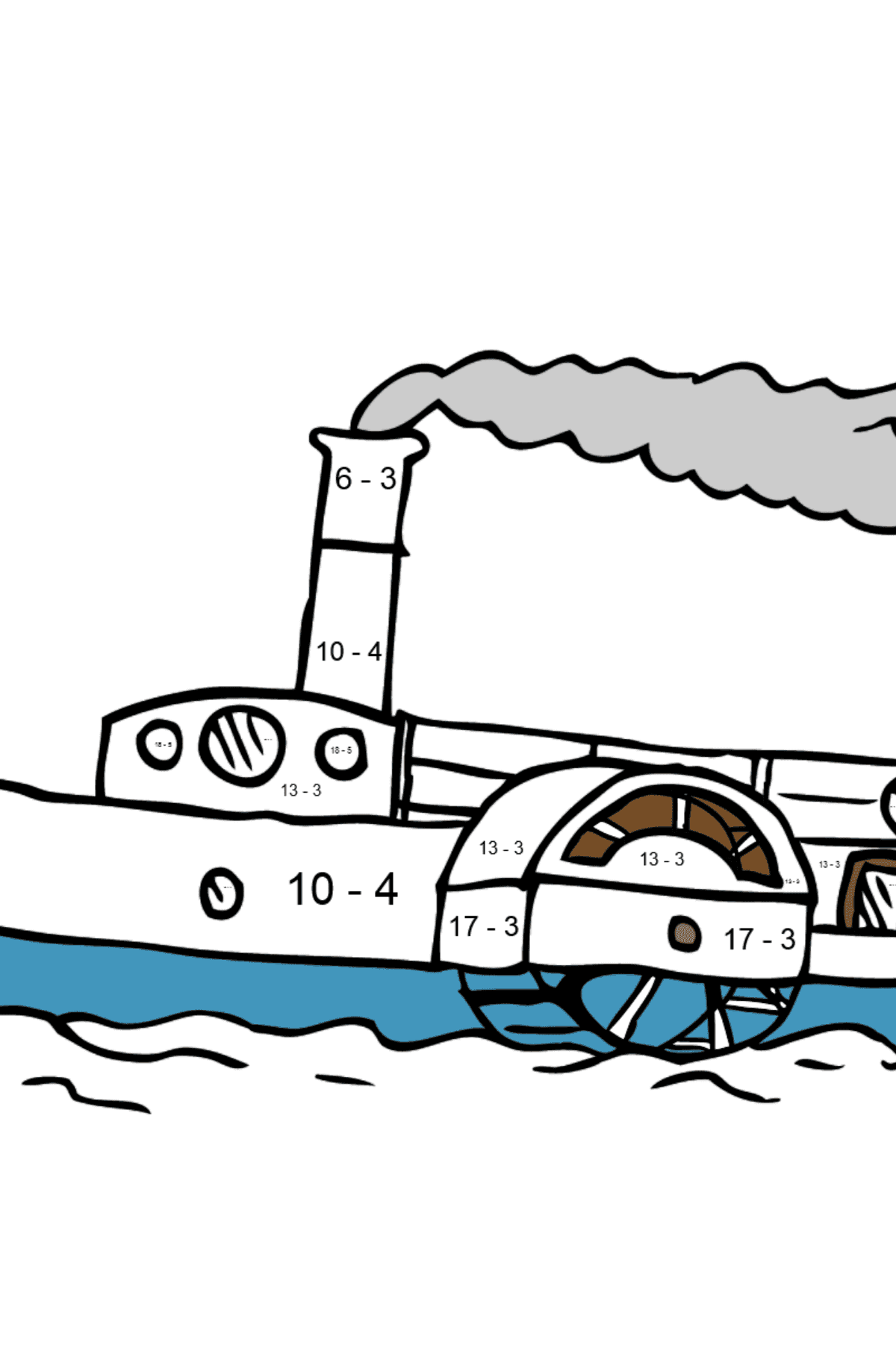 Coloring Page - A Ship with a Paddle Wheel - Math Coloring - Subtraction for Kids