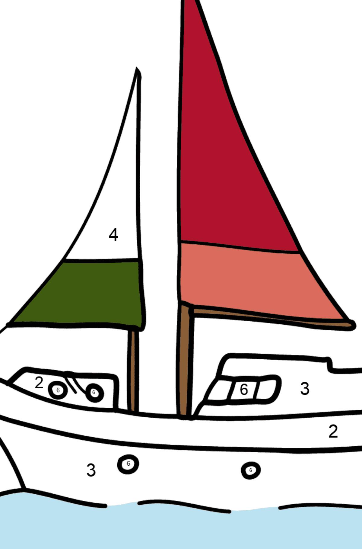 Раскраска небольшое трехпарусное судно - шебека - Раскраска по Номерам для Детей