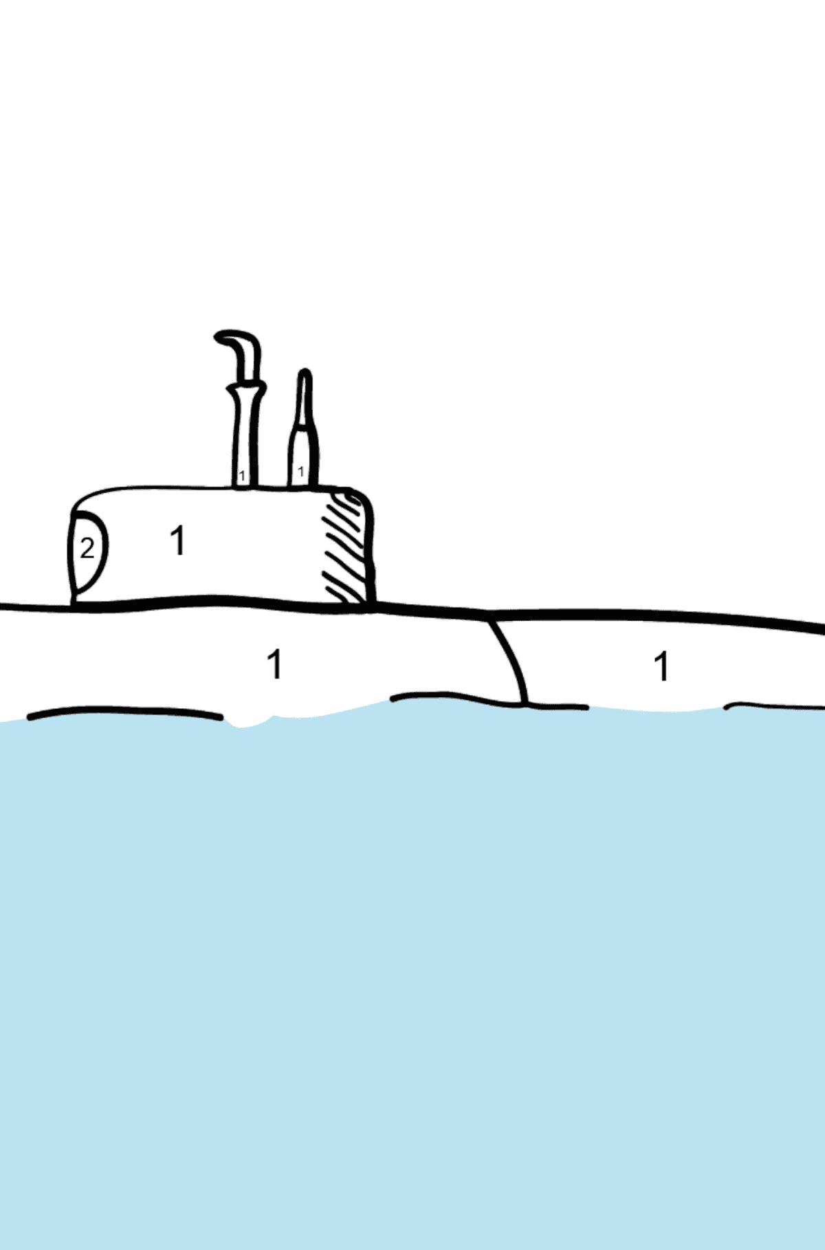 Раскраска подводная лодка - Раскраска по Номерам для Детей