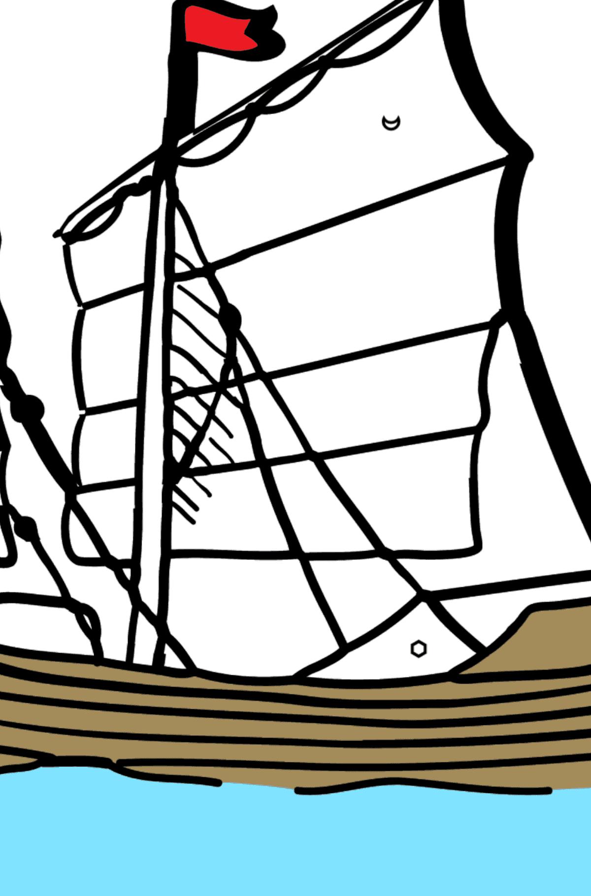 Раскраска трехмачтовый парусник - Раскраска по Символам и Геометрическим Фигурам для Детей