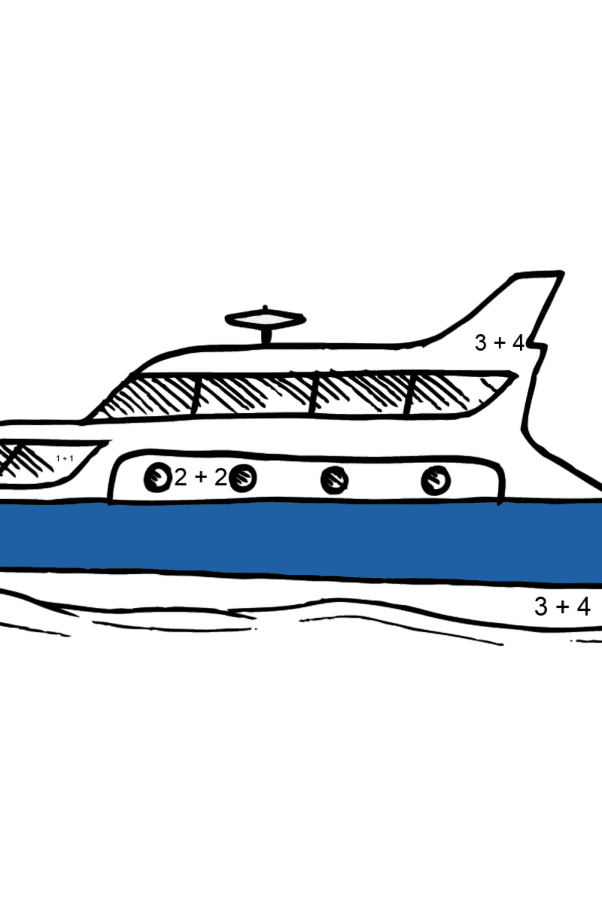 Coloring Page - A Yacht - Math Coloring - Addition for Kids