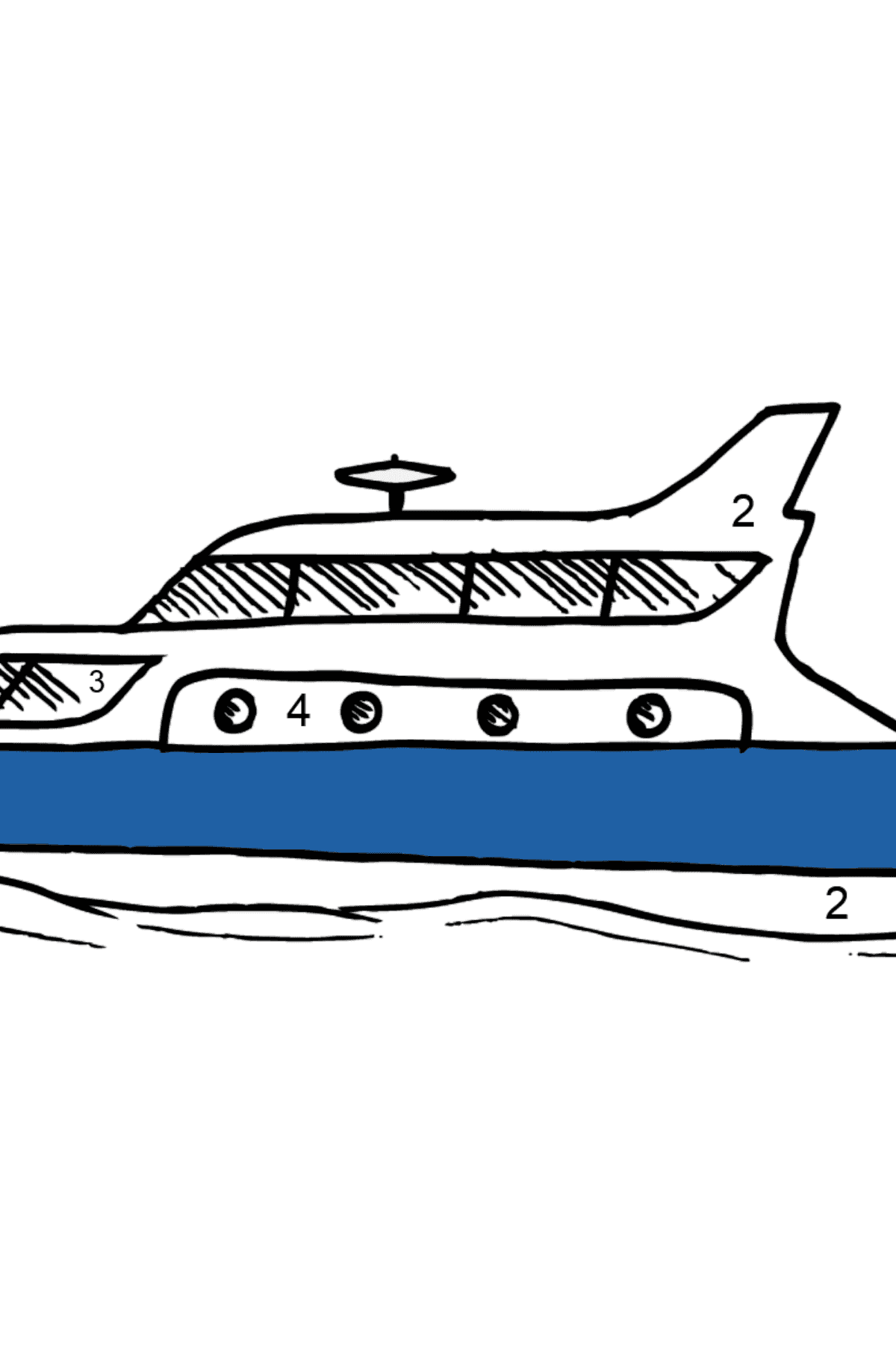 Coloring Page - A Yacht - Coloring by Numbers for Kids