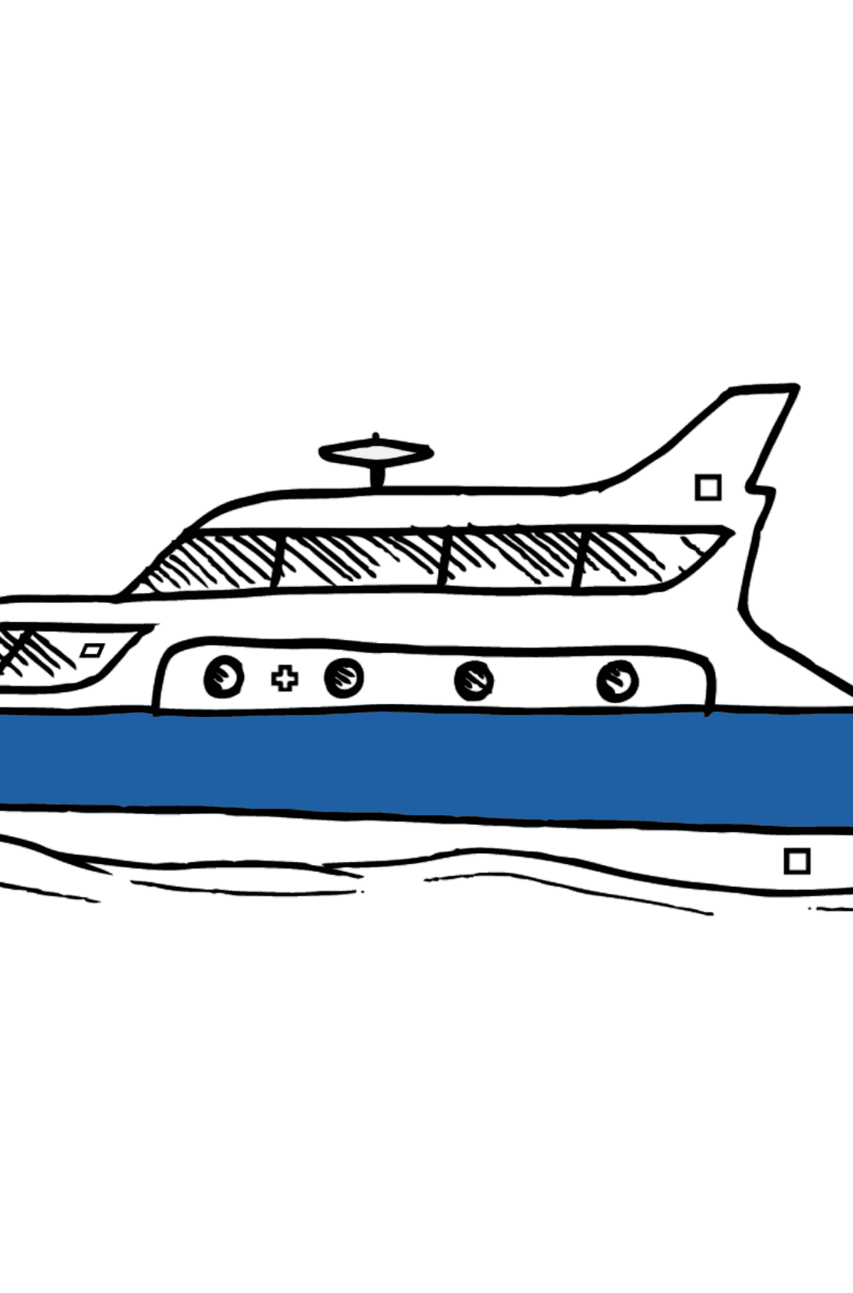 Coloring Page - A Yacht - Coloring by Geometric Shapes for Kids