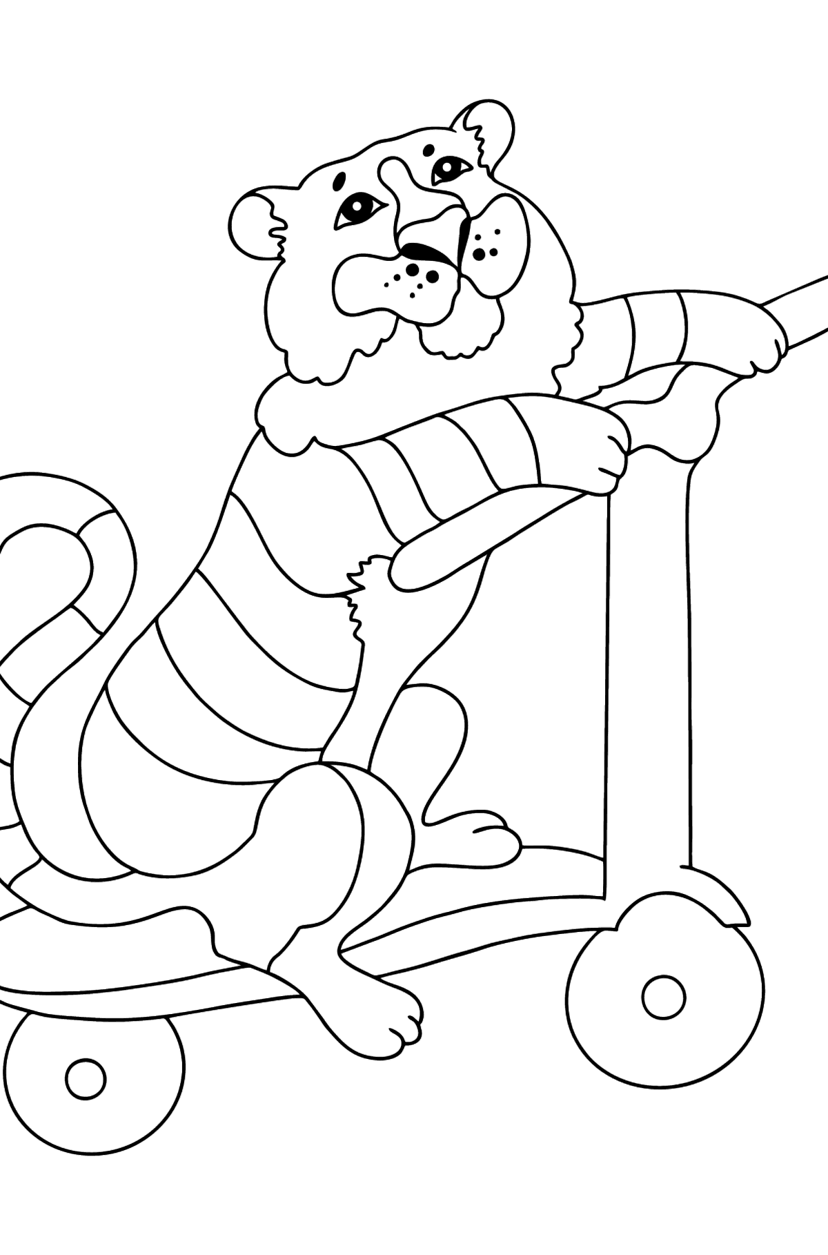 Coloring Page - A Tiger on a Fancy Scooter - Coloring Pages for Kids