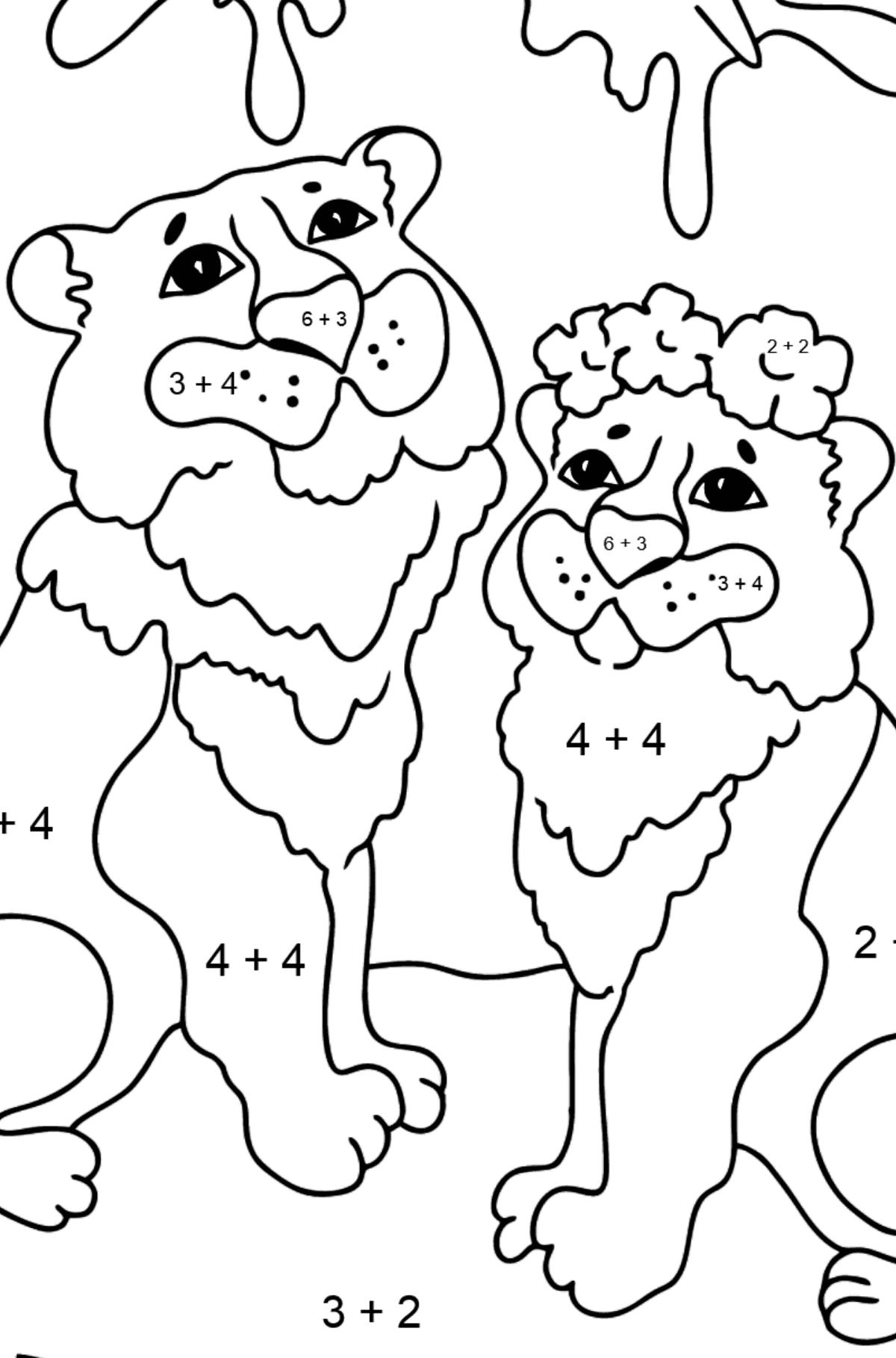 Coloring Page - A Tiger with a Tigress - Math Coloring - Addition for Kids