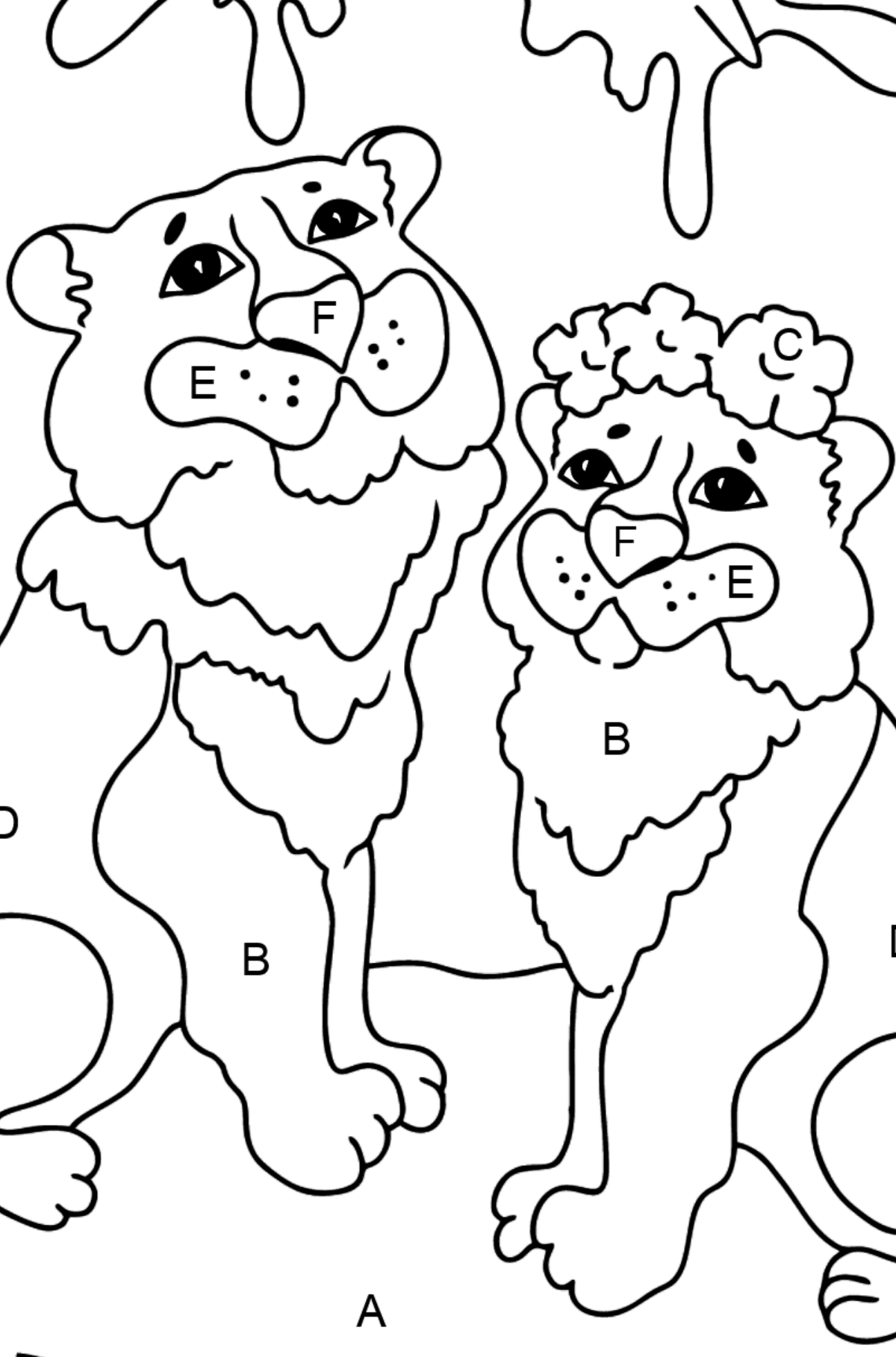 Coloring Page - A Tiger with a Tigress - Coloring by Letters for Kids